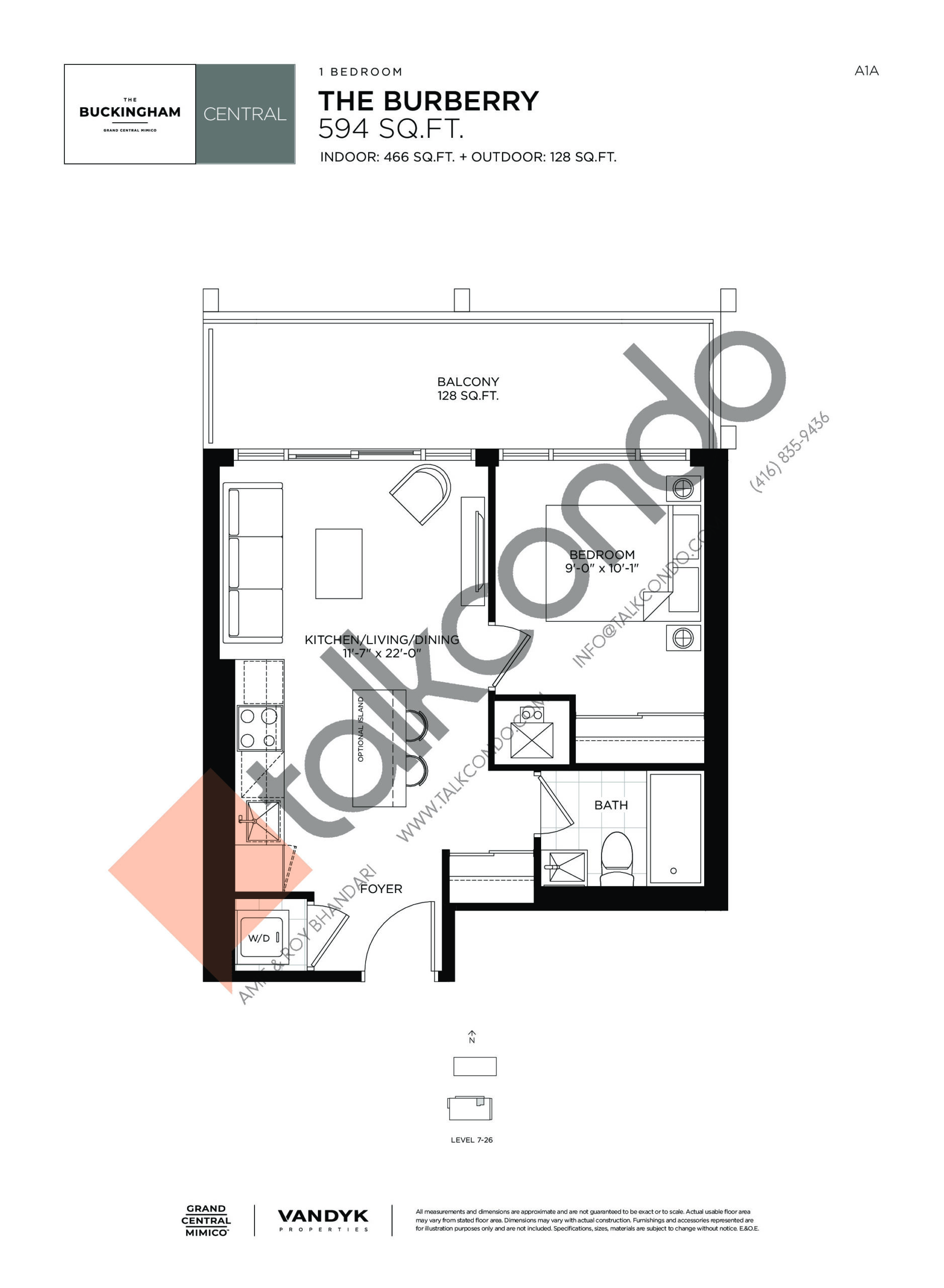 The Burberry Floor Plan at Grand Central Mimico Condos - 466 sq.ft