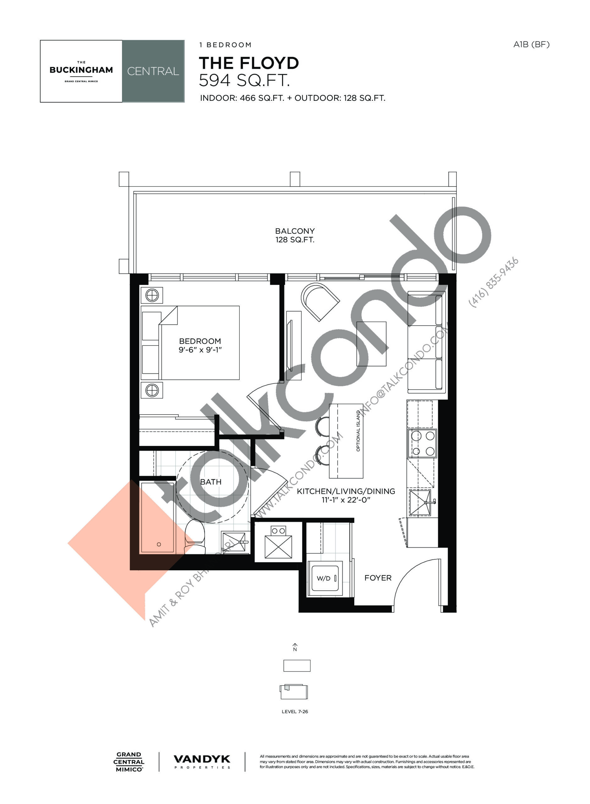 The Floyd Floor Plan at Grand Central Mimico Condos - 466 sq.ft