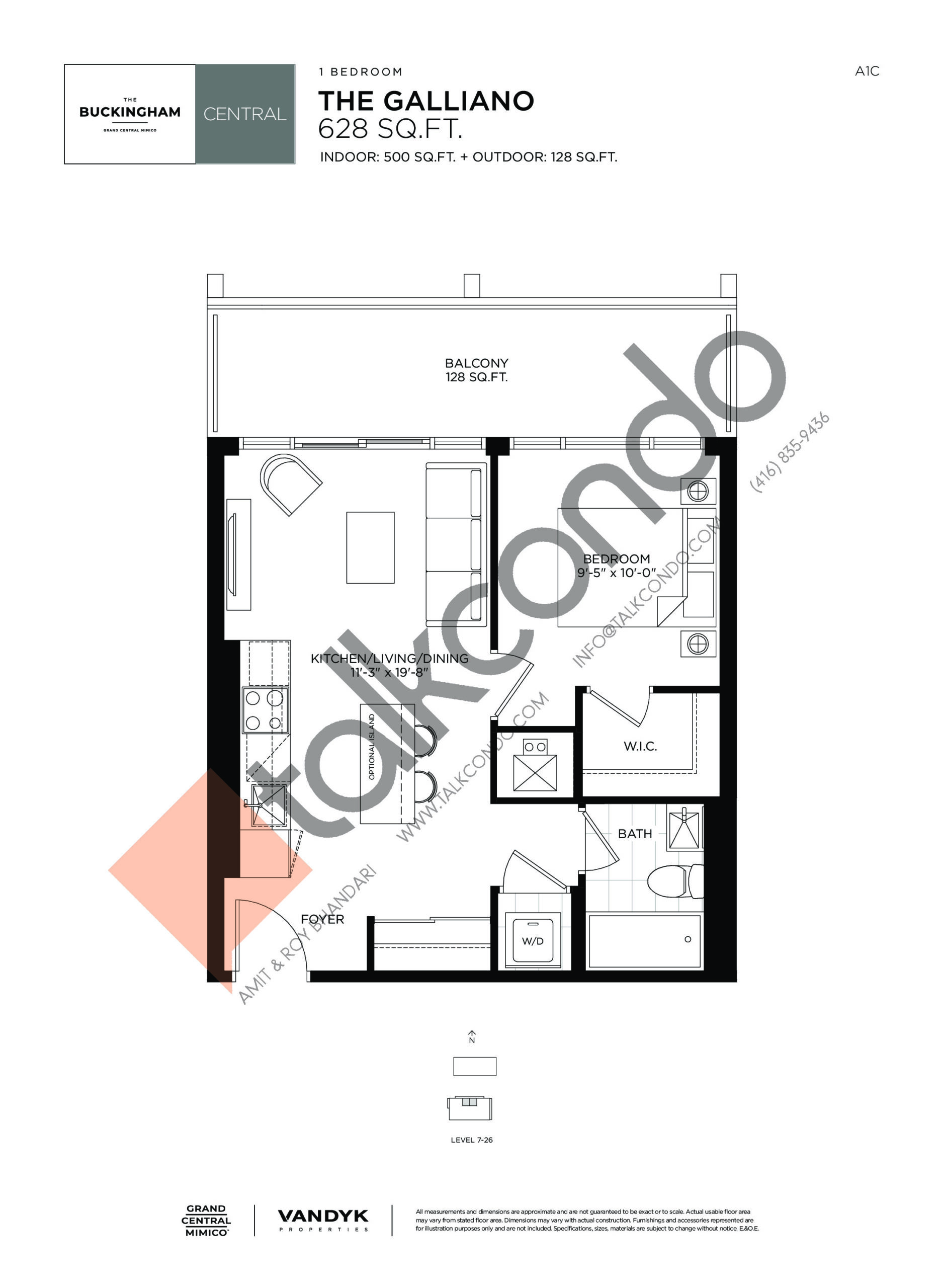 The Galliano Floor Plan at Grand Central Mimico Condos - 628 sq.ft