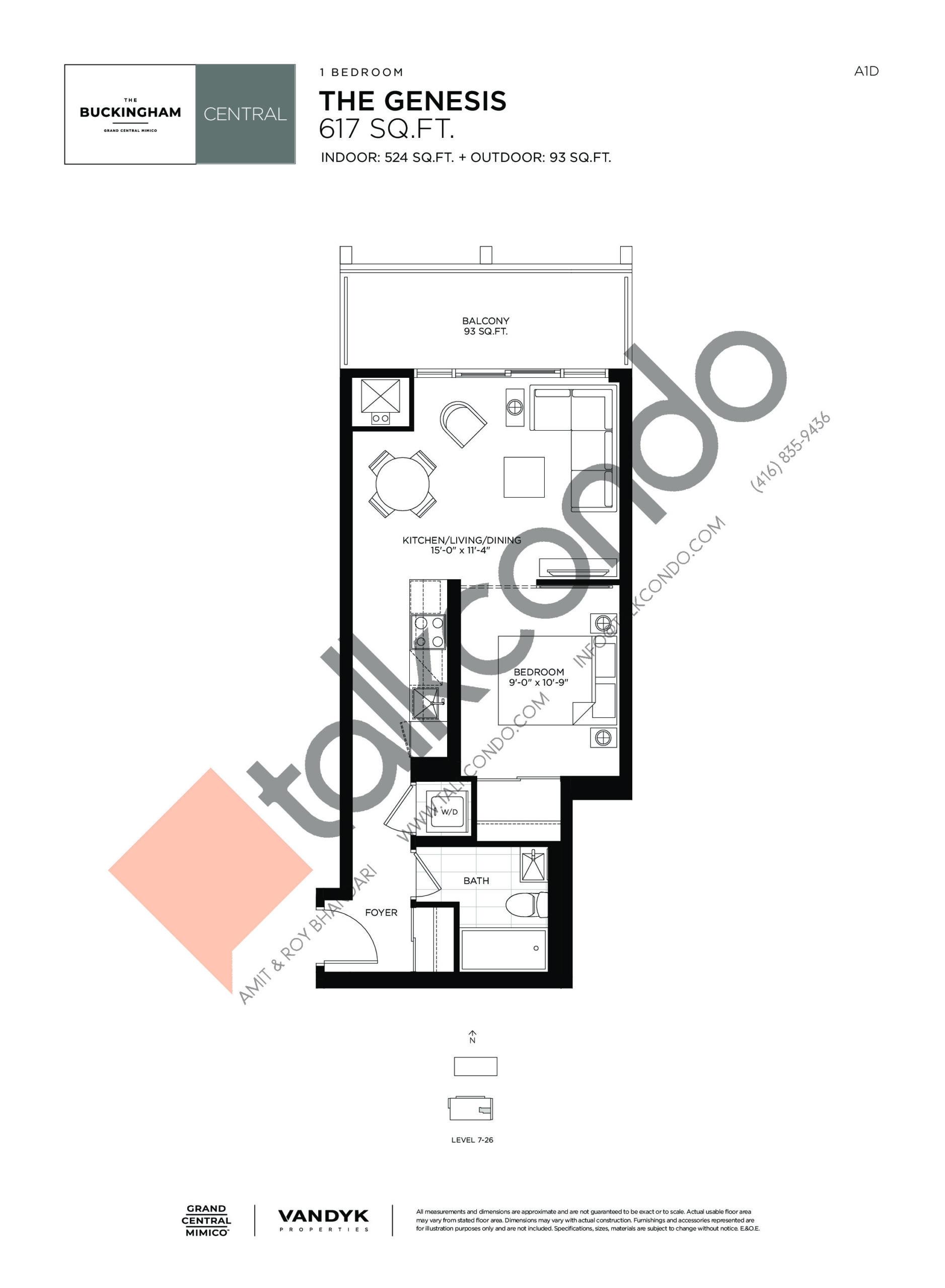 The Genesis Floor Plan at Grand Central Mimico Condos - 524 sq.ft