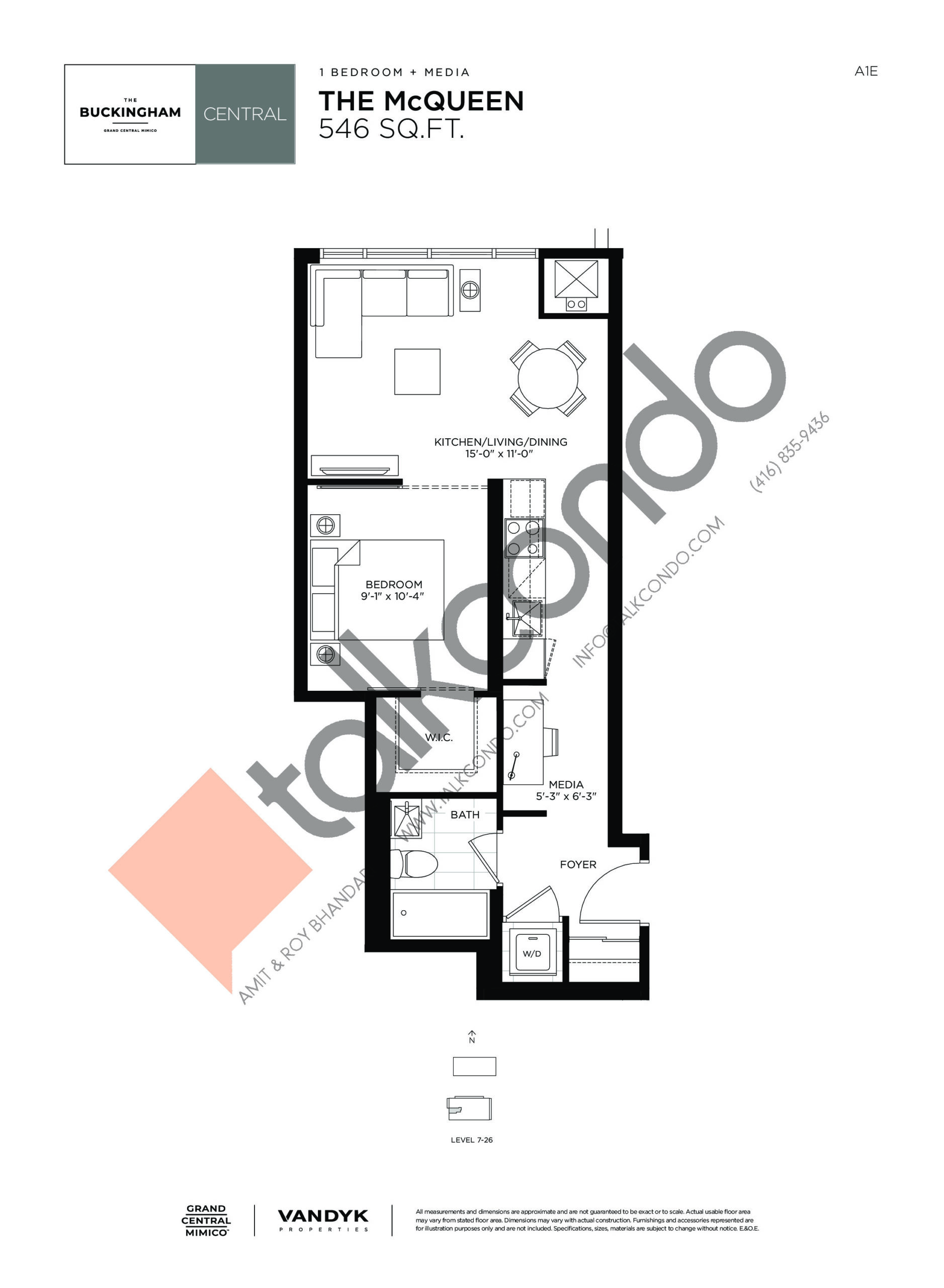 The McQueen Floor Plan at Grand Central Mimico Condos - 546 sq.ft