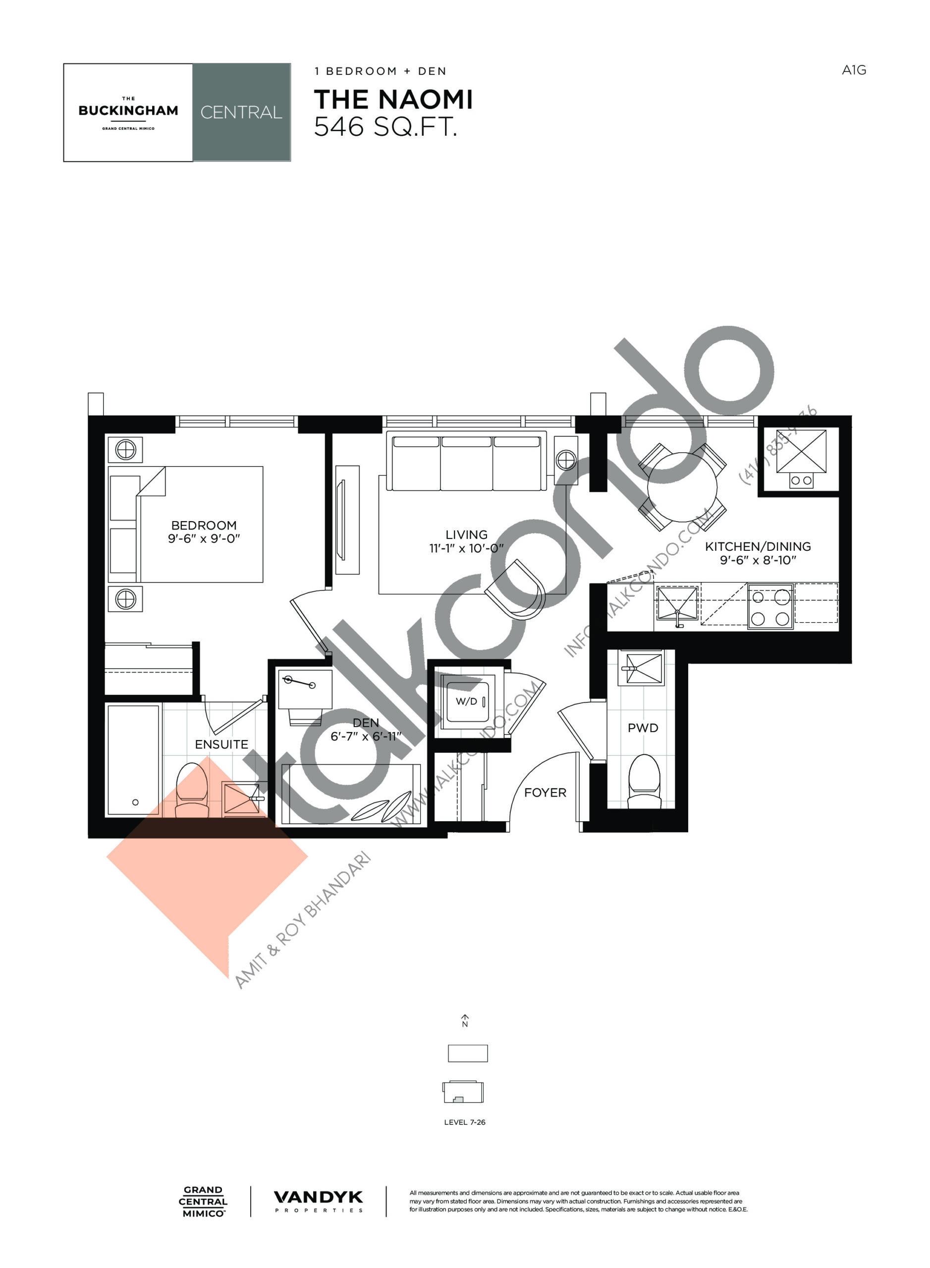 The Naomi Floor Plan at Grand Central Mimico Condos - 546 sq.ft