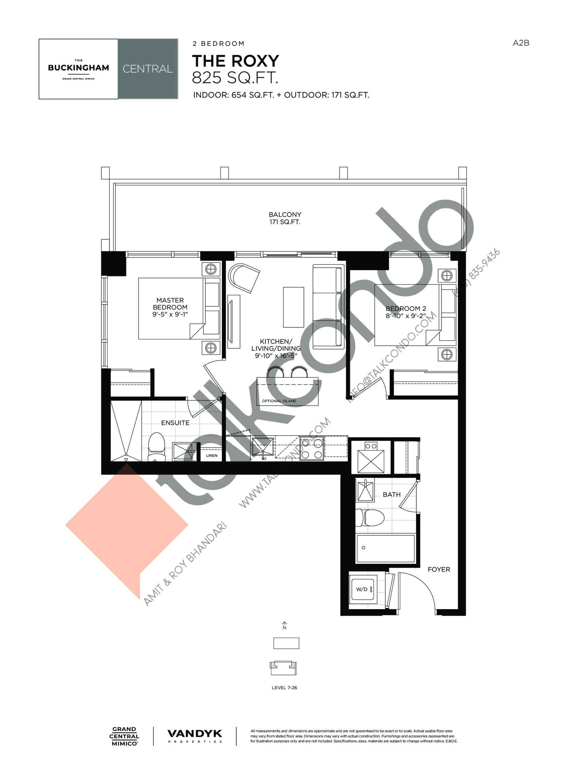 The Roxy Floor Plan at Grand Central Mimico Condos - 654 sq.ft
