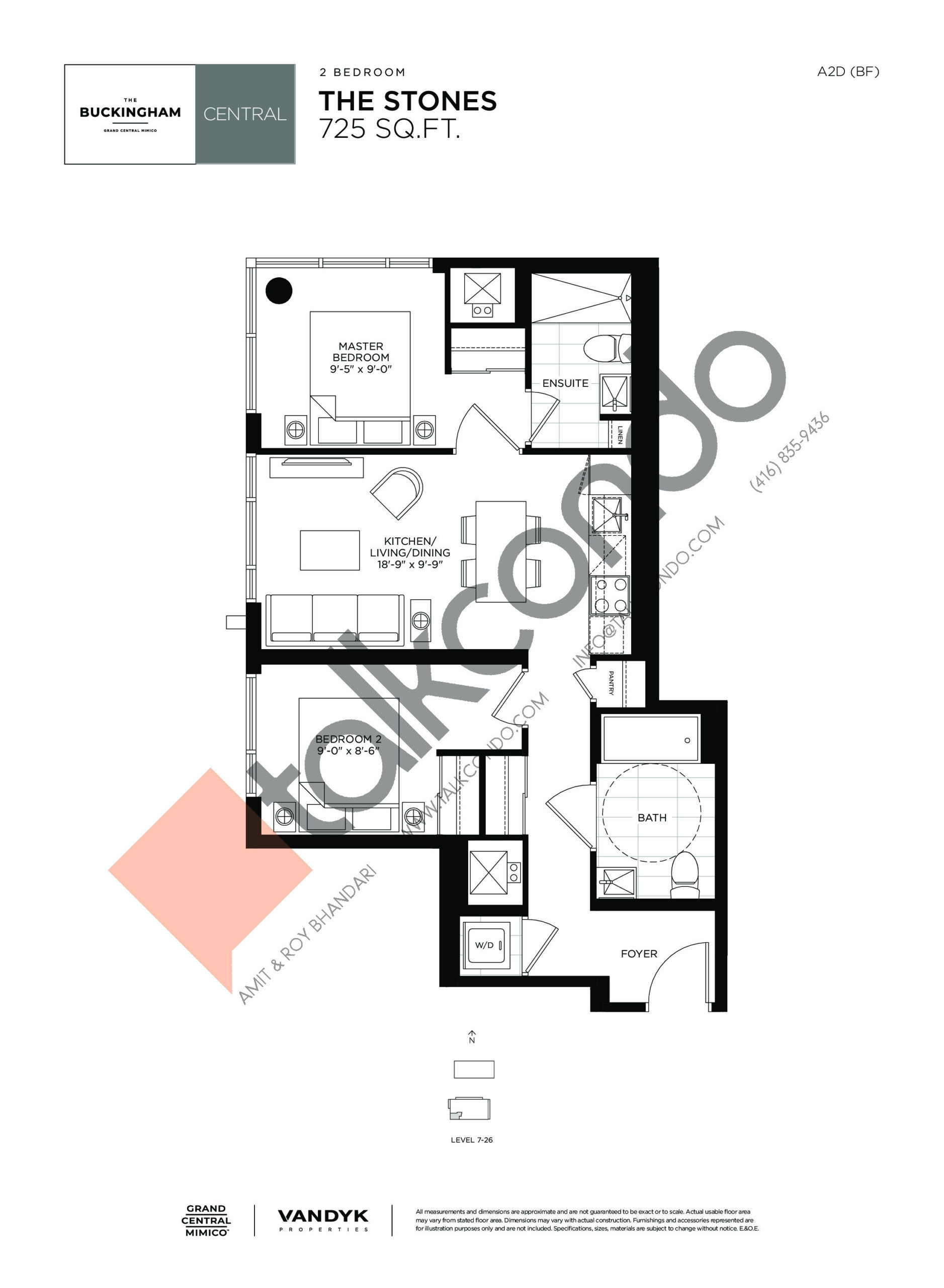 The Stones Floor Plan at Grand Central Mimico Condos - 725 sq.ft