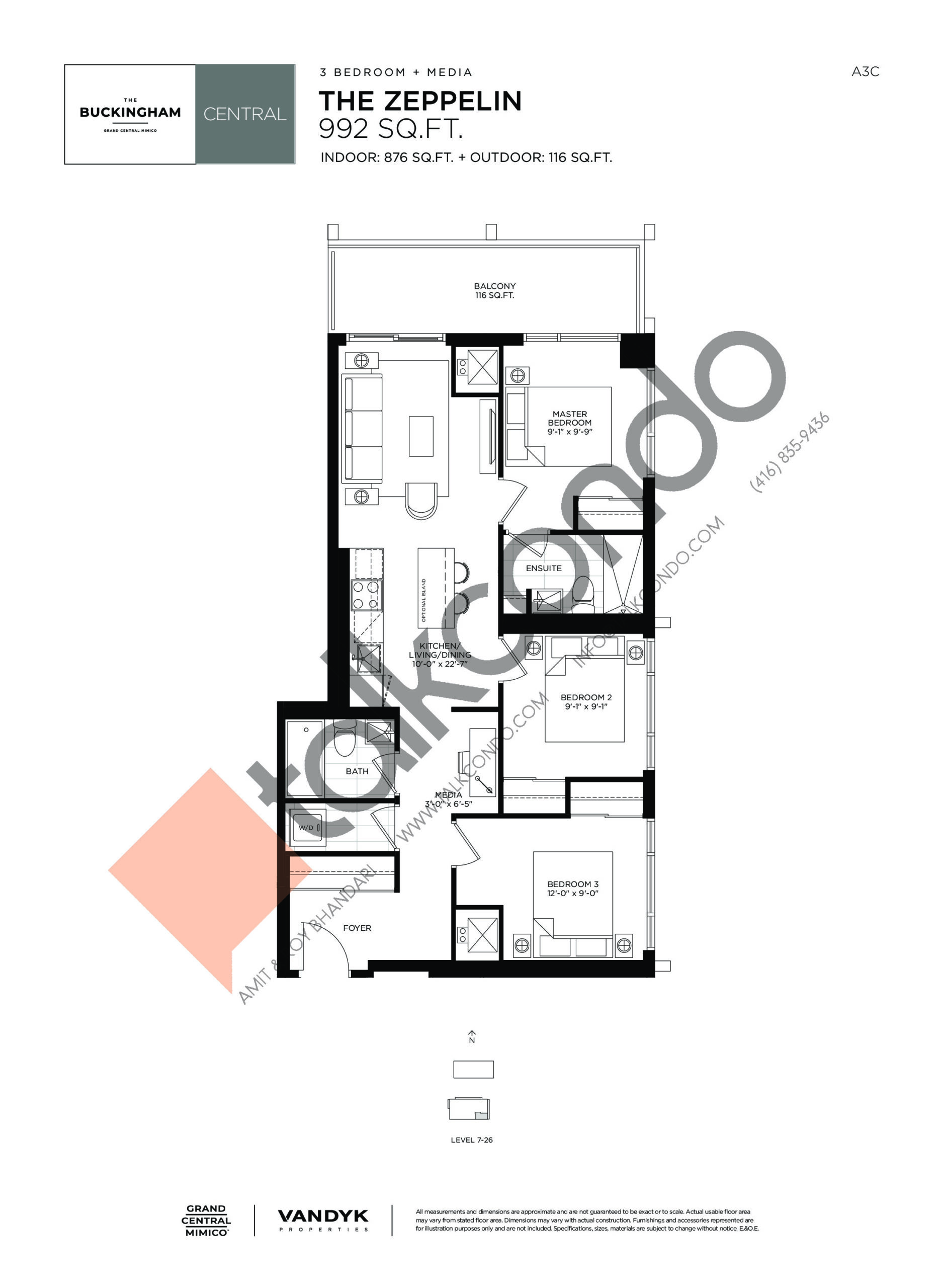 The Zeppelin Floor Plan at Grand Central Mimico Condos - 876 sq.ft