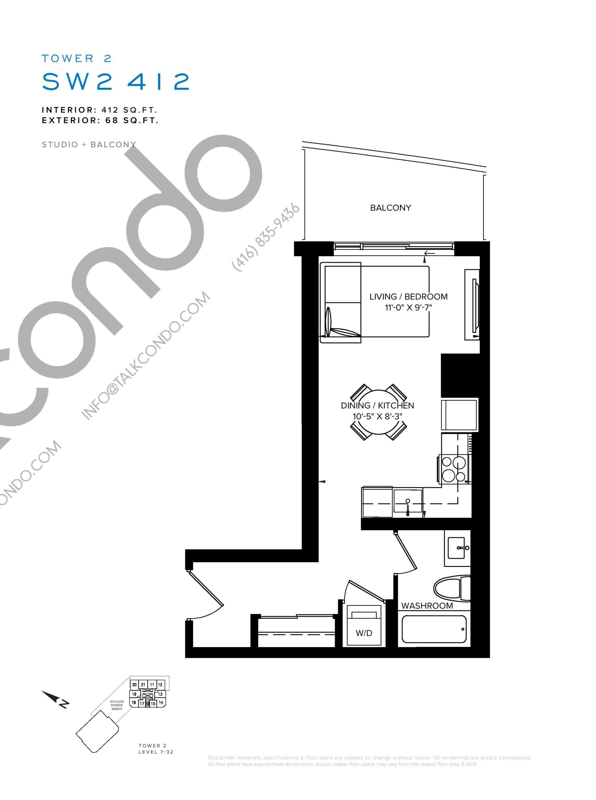 SW2 412 Floor Plan at SXSW Tower 2 Condos (SXSW2) - 412 sq.ft