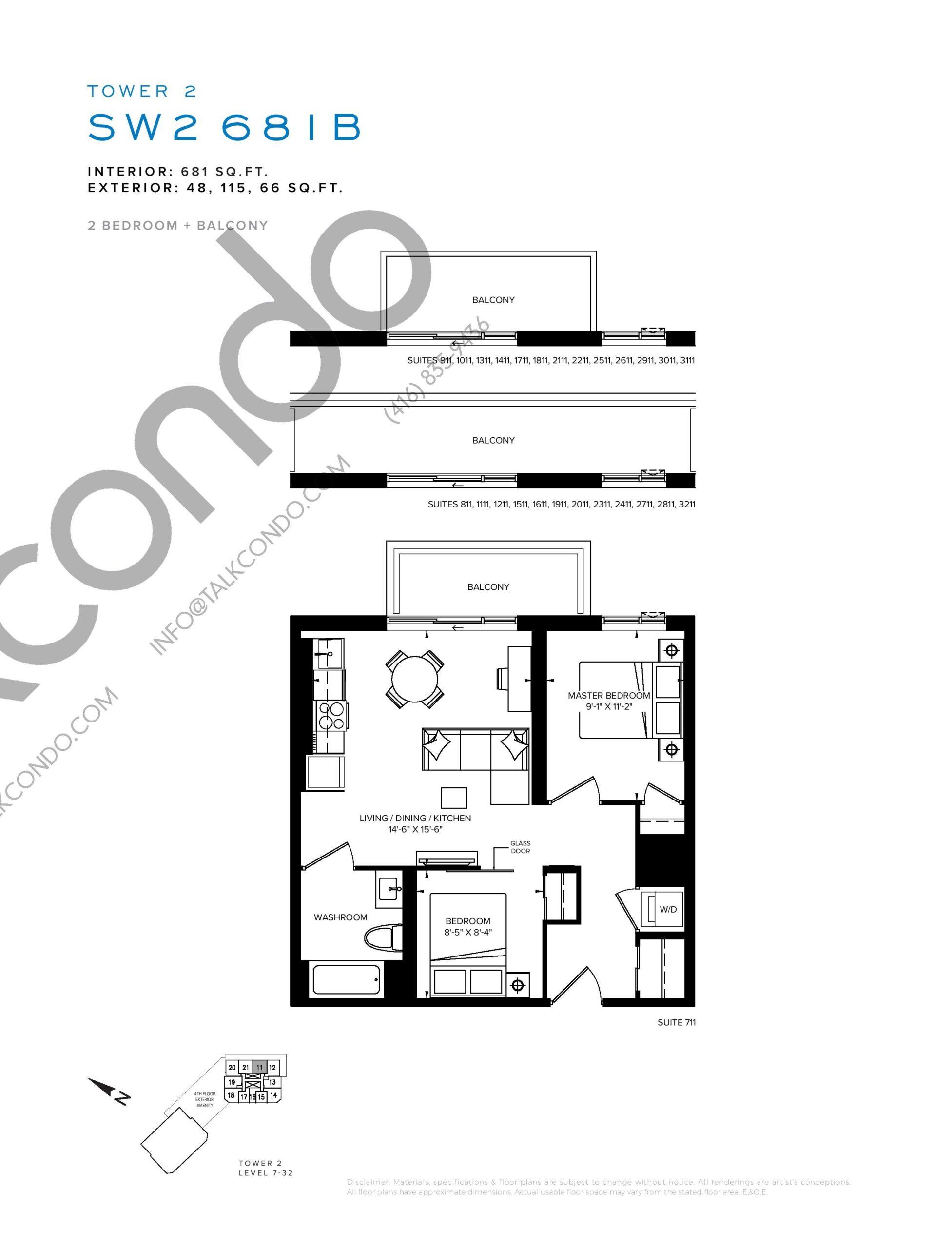 SW2 681B Floor Plan at SXSW Tower 2 Condos (SXSW2) - 681 sq.ft