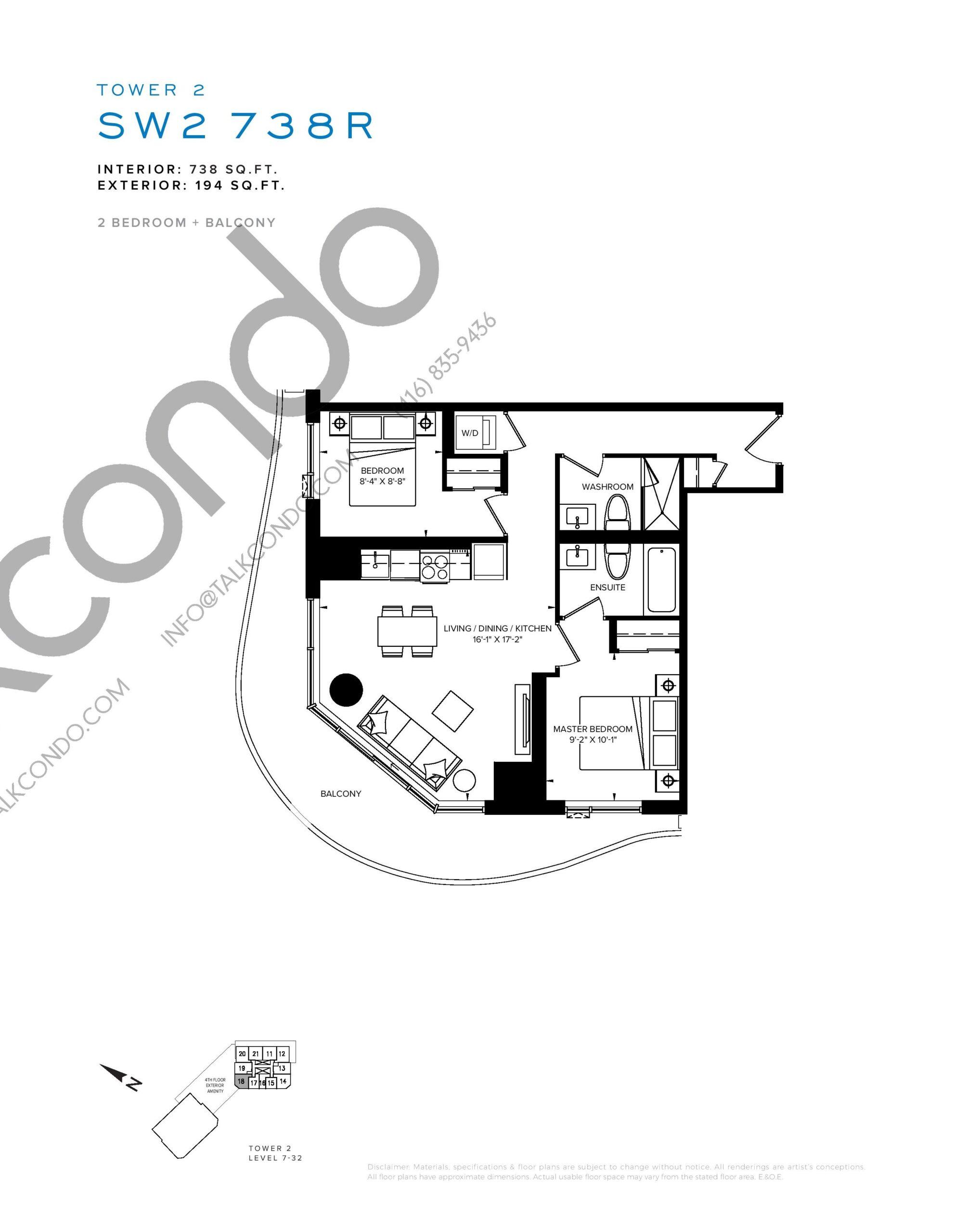 SW2 738R Floor Plan at SXSW Tower 2 Condos (SXSW2) - 738 sq.ft
