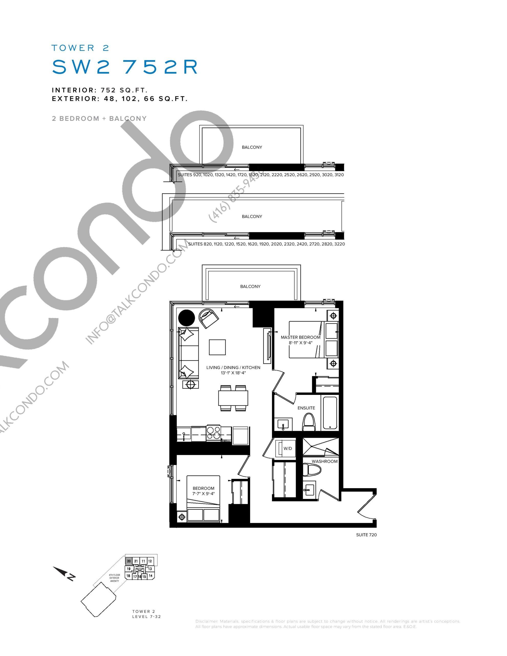SW2 752R Floor Plan at SXSW Tower 2 Condos (SXSW2) - 752 sq.ft