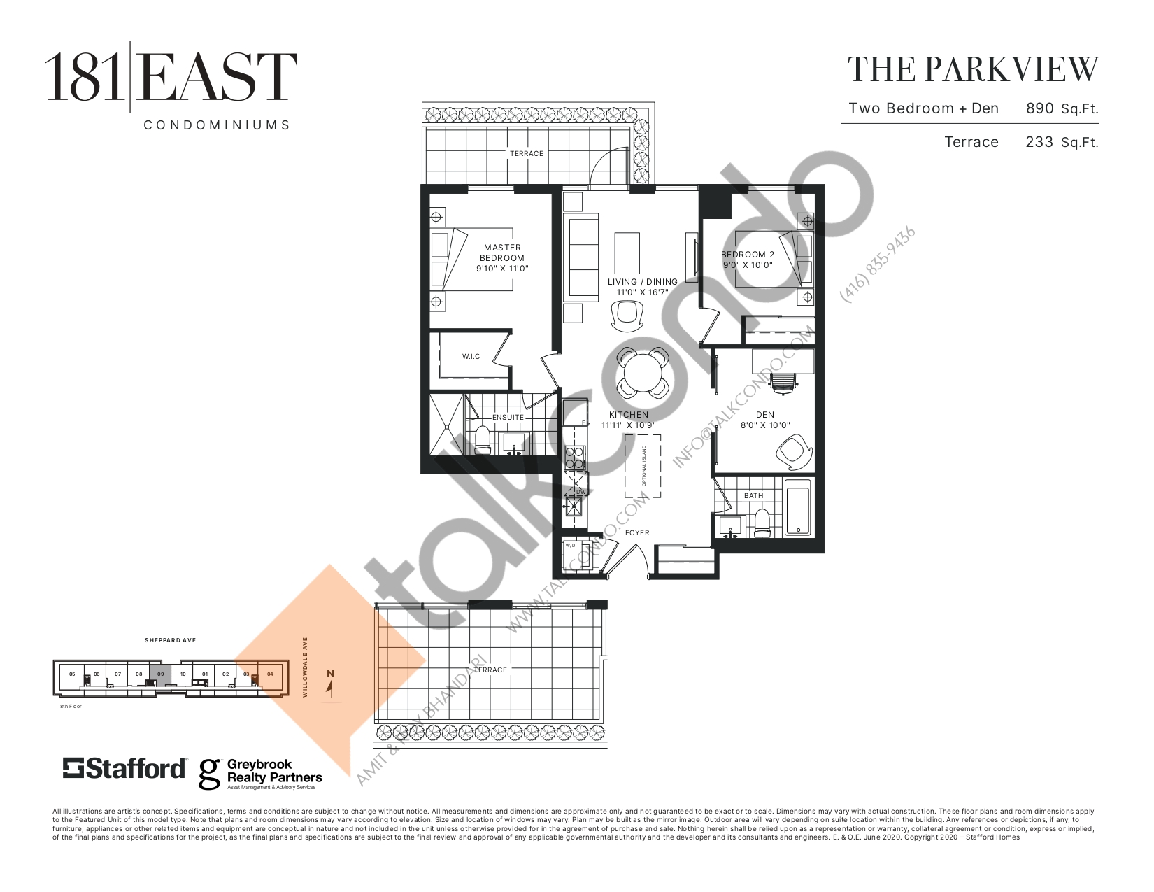 The Parkview Floor Plan at 181 East Condos - 890 sq.ft