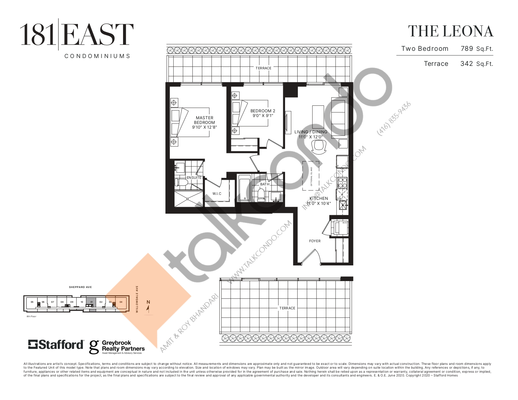 The Leona Floor Plan at 181 East Condos - 789 sq.ft