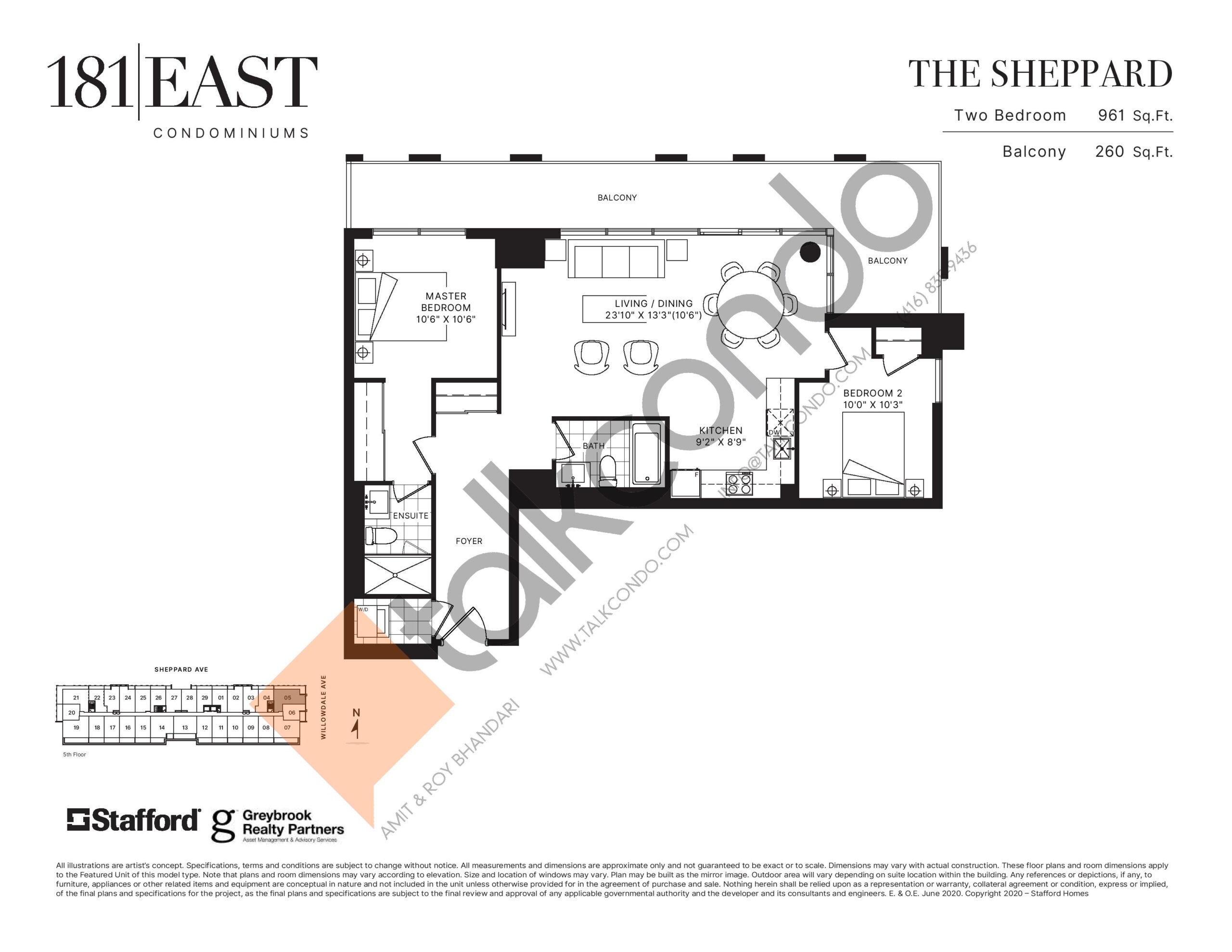 The Sheppard Floor Plan at 181 East Condos - 961 sq.ft