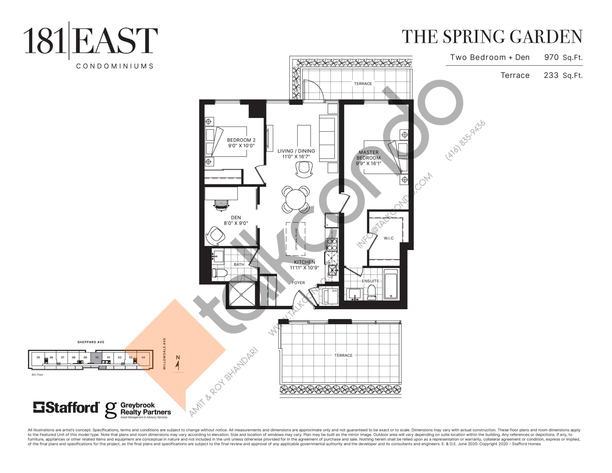 The Spring Garden Floor Plan at 181 East Condos - 970 sq.ft