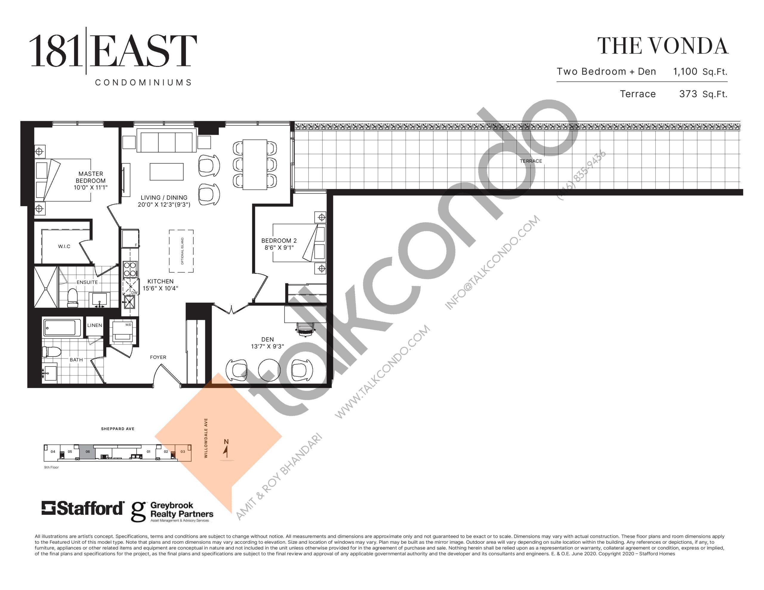 The Vonda Floor Plan at 181 East Condos - 1100 sq.ft