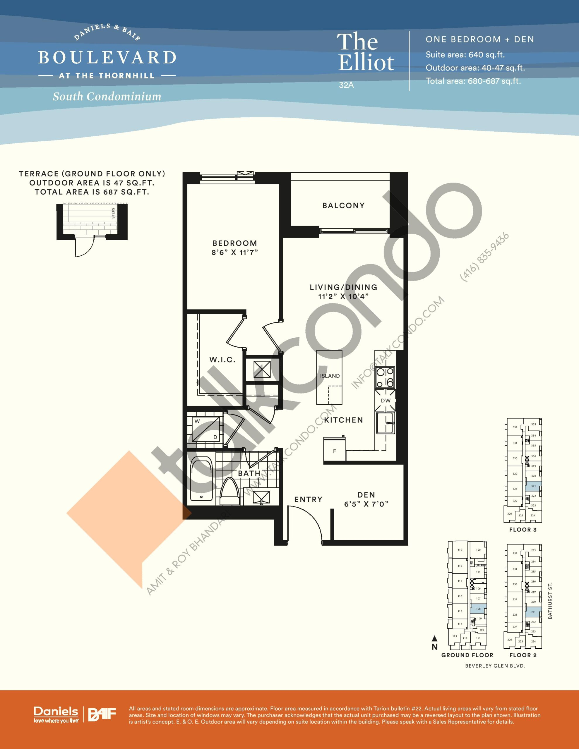 Boulevard At The Thornhill Condos The Elliot South Tower 640 Sq Ft 1 5 Bedrooms