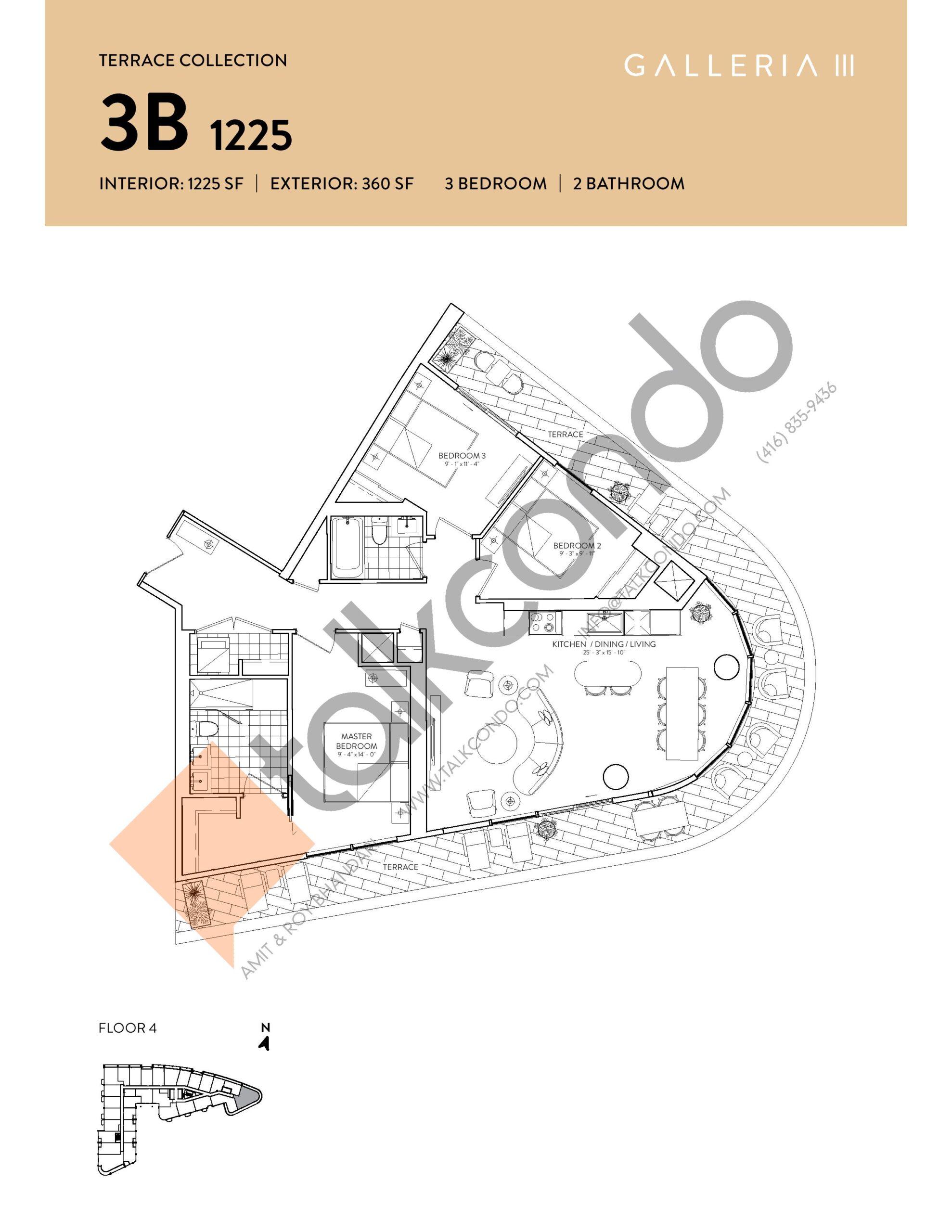 3B 1225 - Terrace Collection Floor Plan at Galleria 03 Condos - 1225 sq.ft