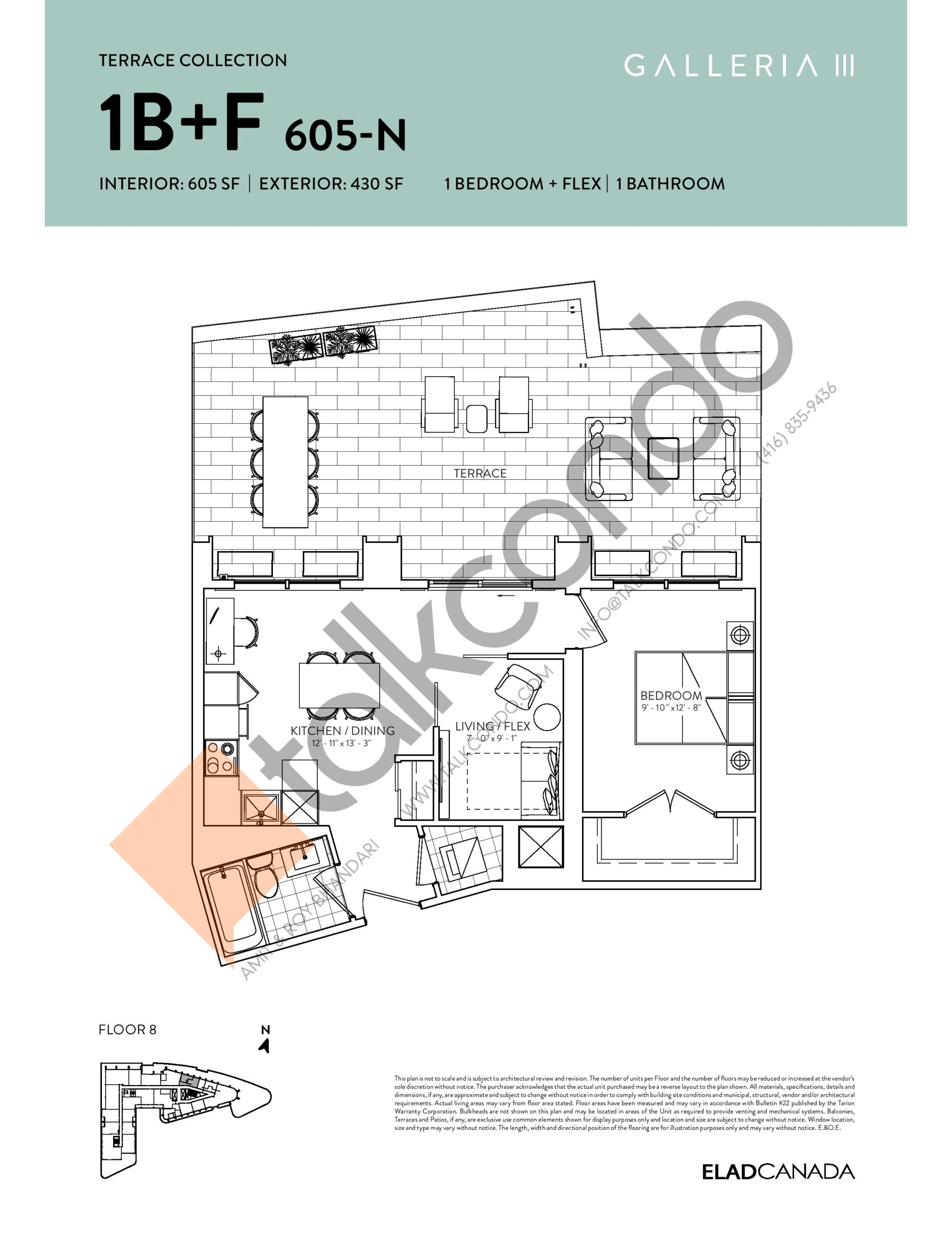 1B+F 605-N - Terrace Collection Floor Plan at Galleria 03 Condos - 605 sq.ft