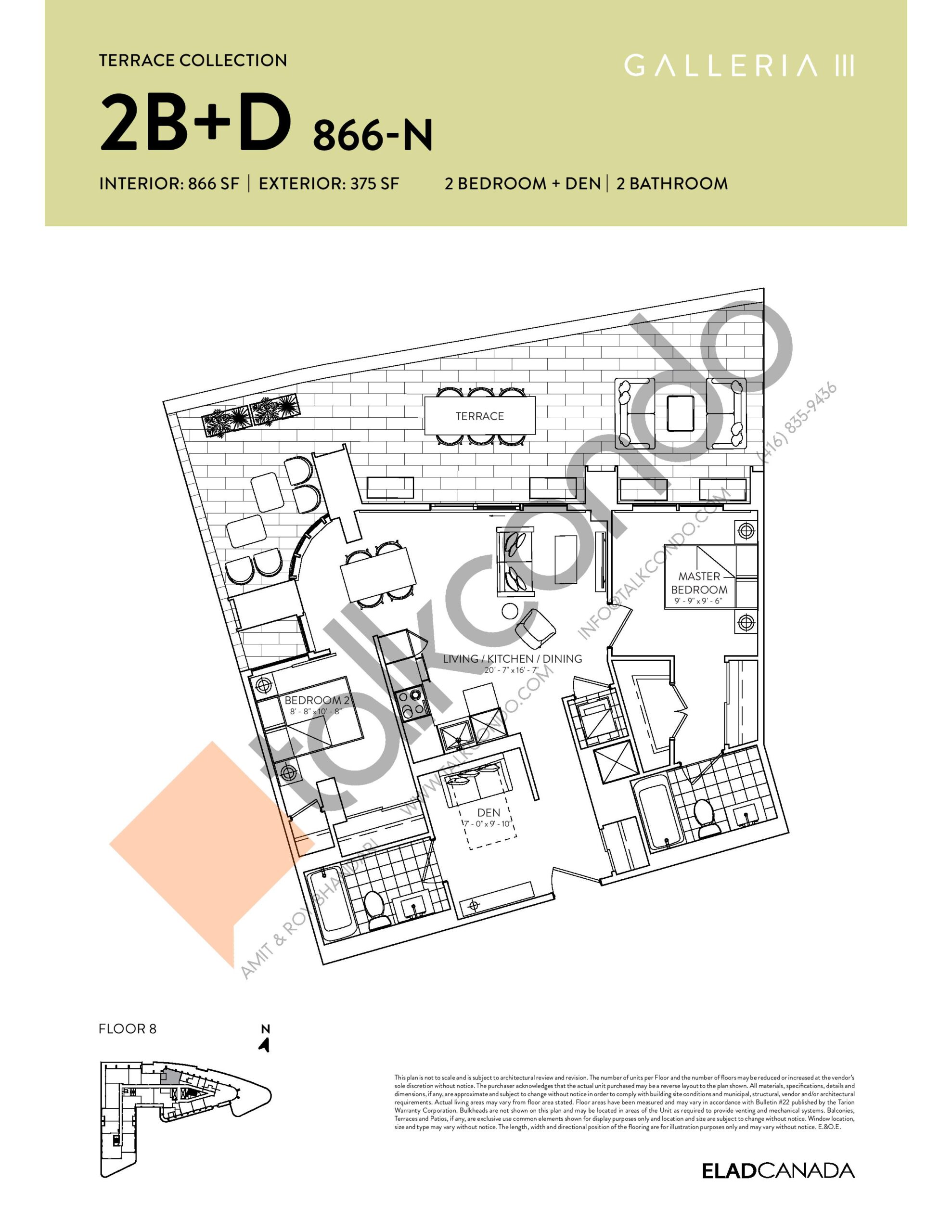 2B+D 866-N - Terrace Collection Floor Plan at Galleria 03 Condos - 866 sq.ft