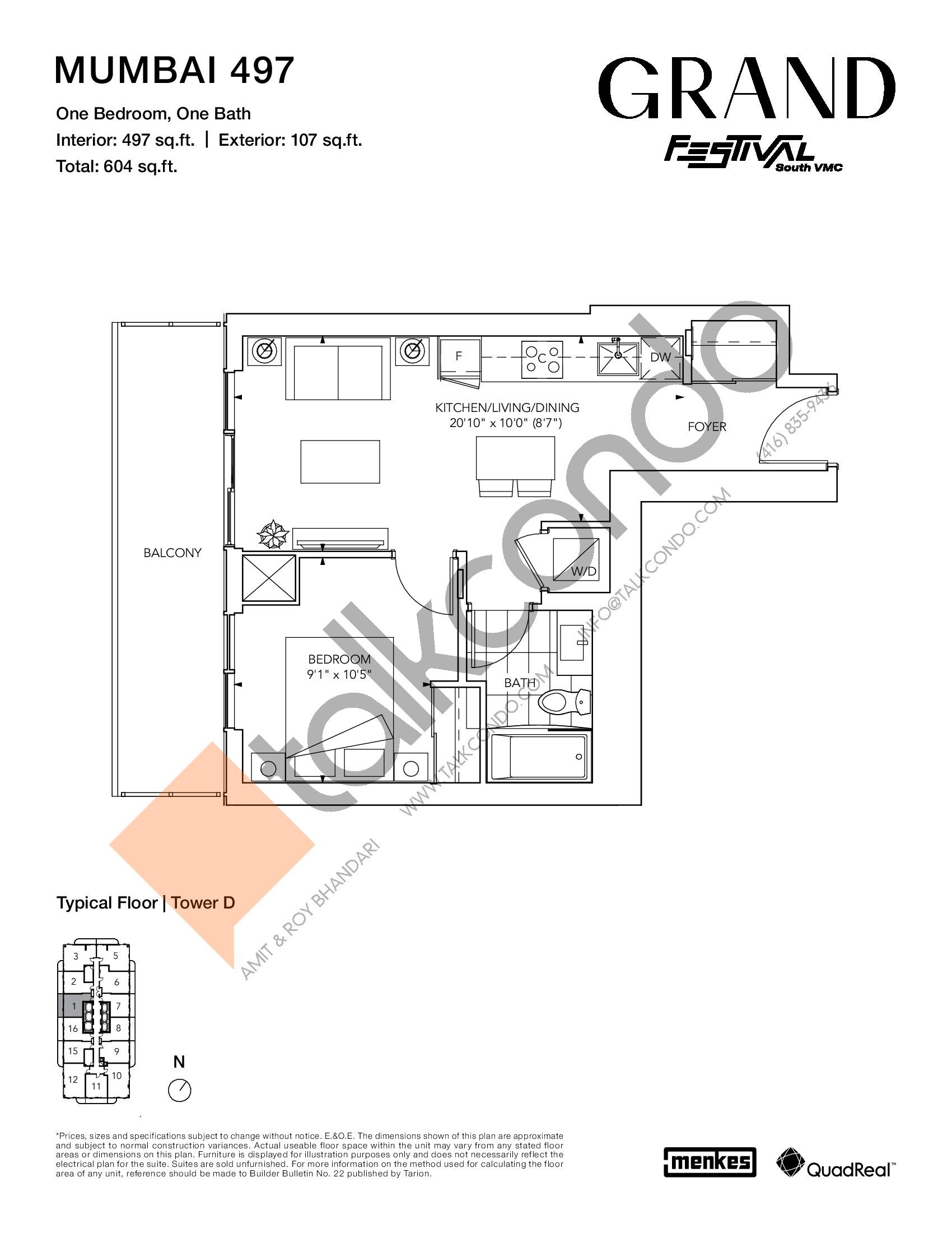 Mumbai 497 Floor Plan at Grand Festival Condos - 497 sq.ft