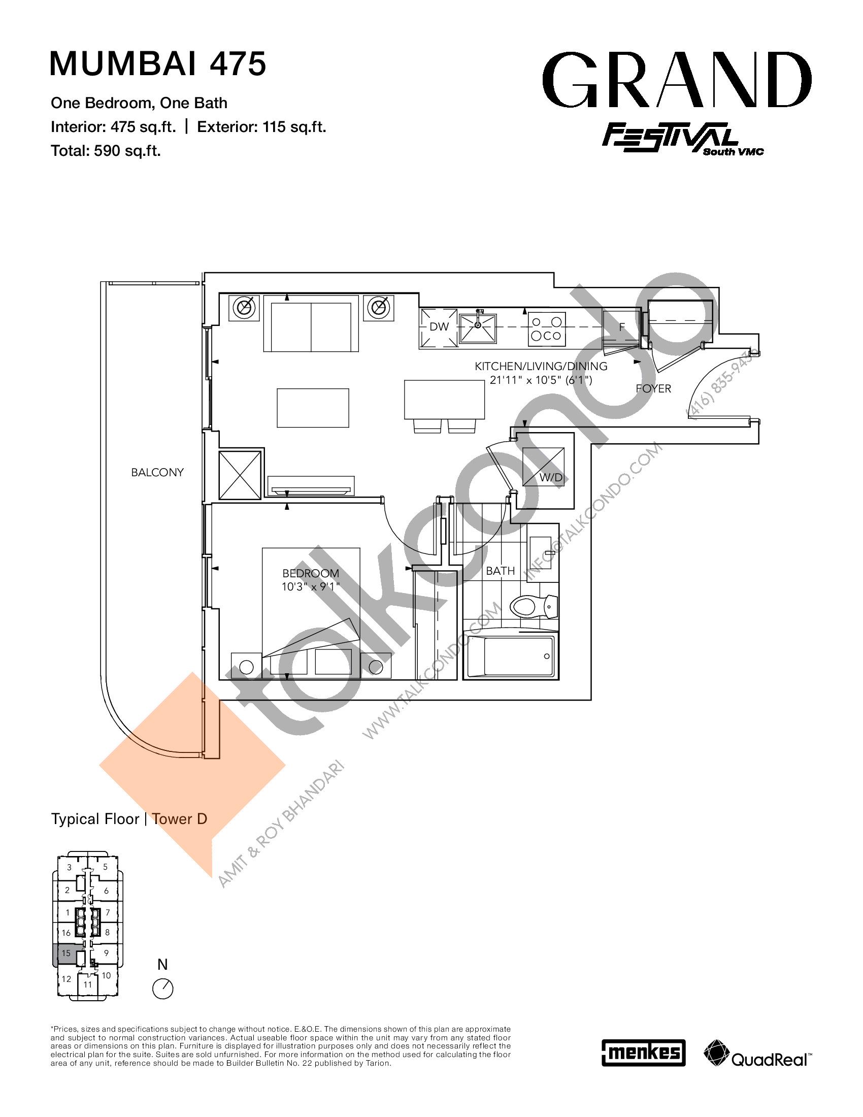 Mumbai 475 Floor Plan at Grand Festival Condos - 475 sq.ft