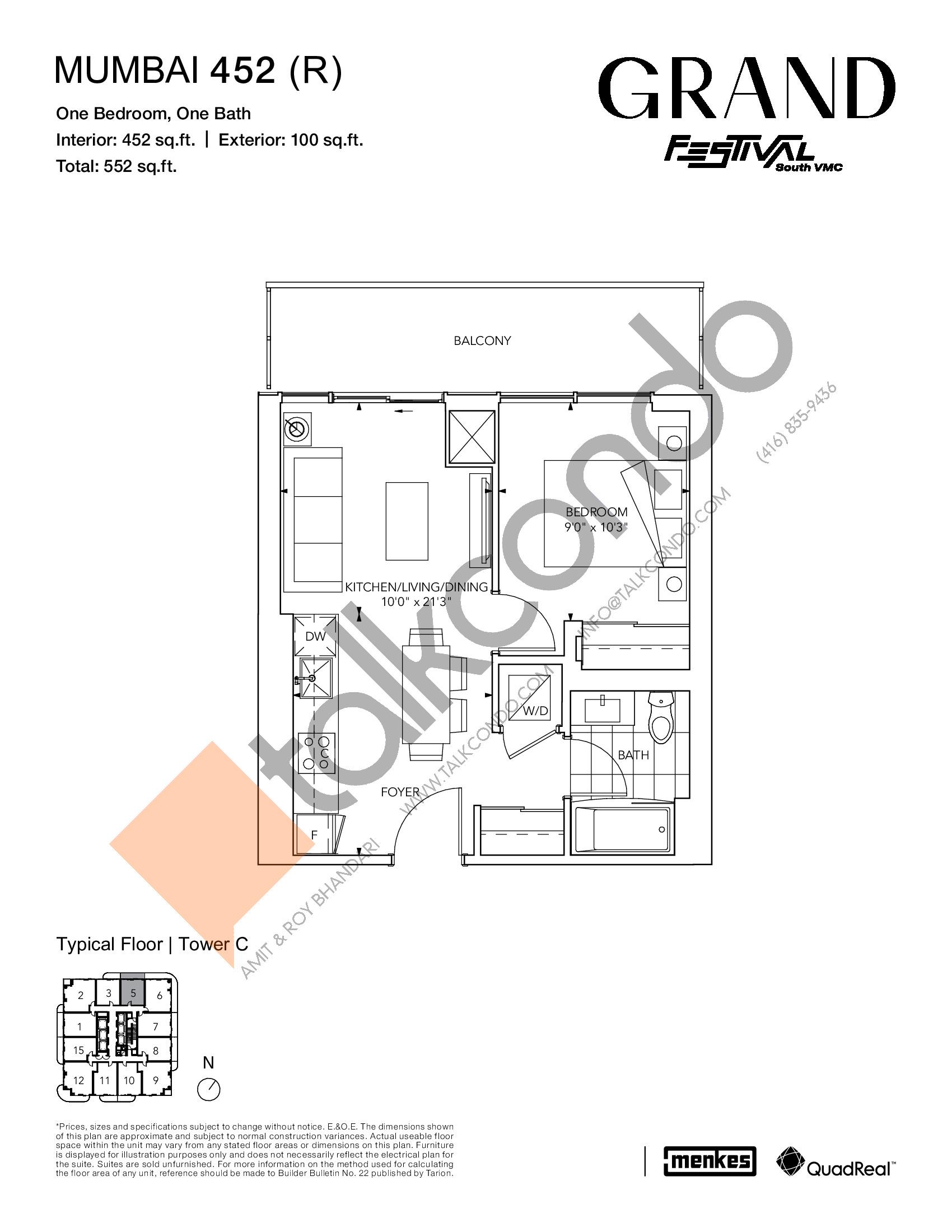 Mumbai 452 (R) Floor Plan at Grand Festival Condos - 452 sq.ft