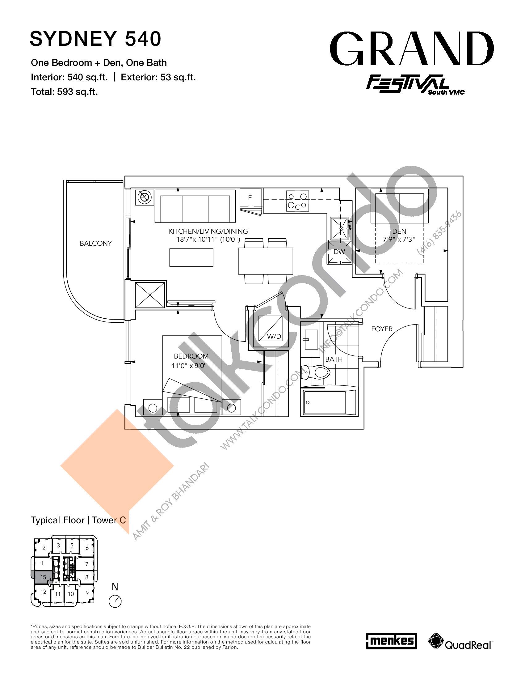 Sydney 540 Floor Plan at Grand Festival Condos - 540 sq.ft