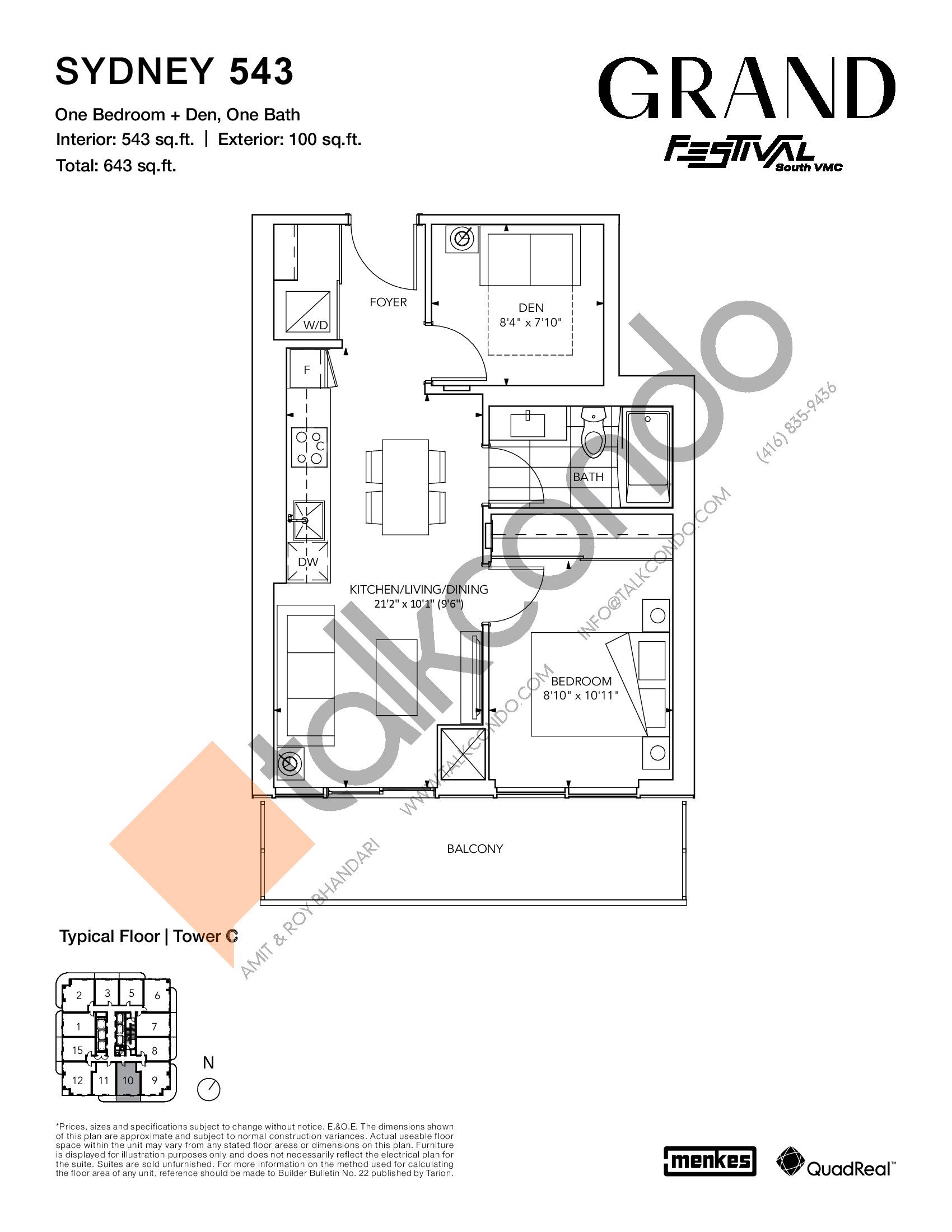 Sydney 543 Floor Plan at Grand Festival Condos - 543 sq.ft