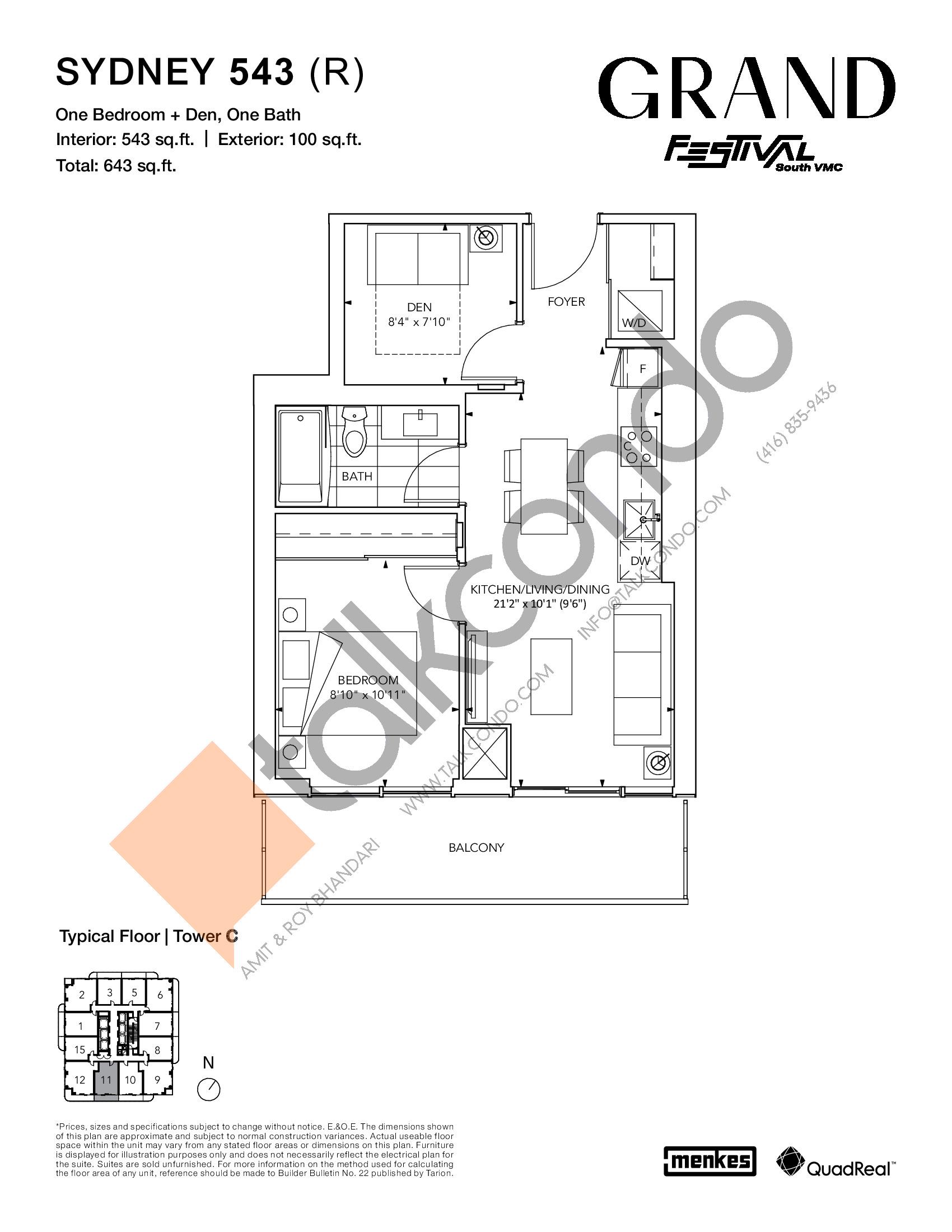Sydney 543 (R) Floor Plan at Grand Festival Condos - 543 sq.ft