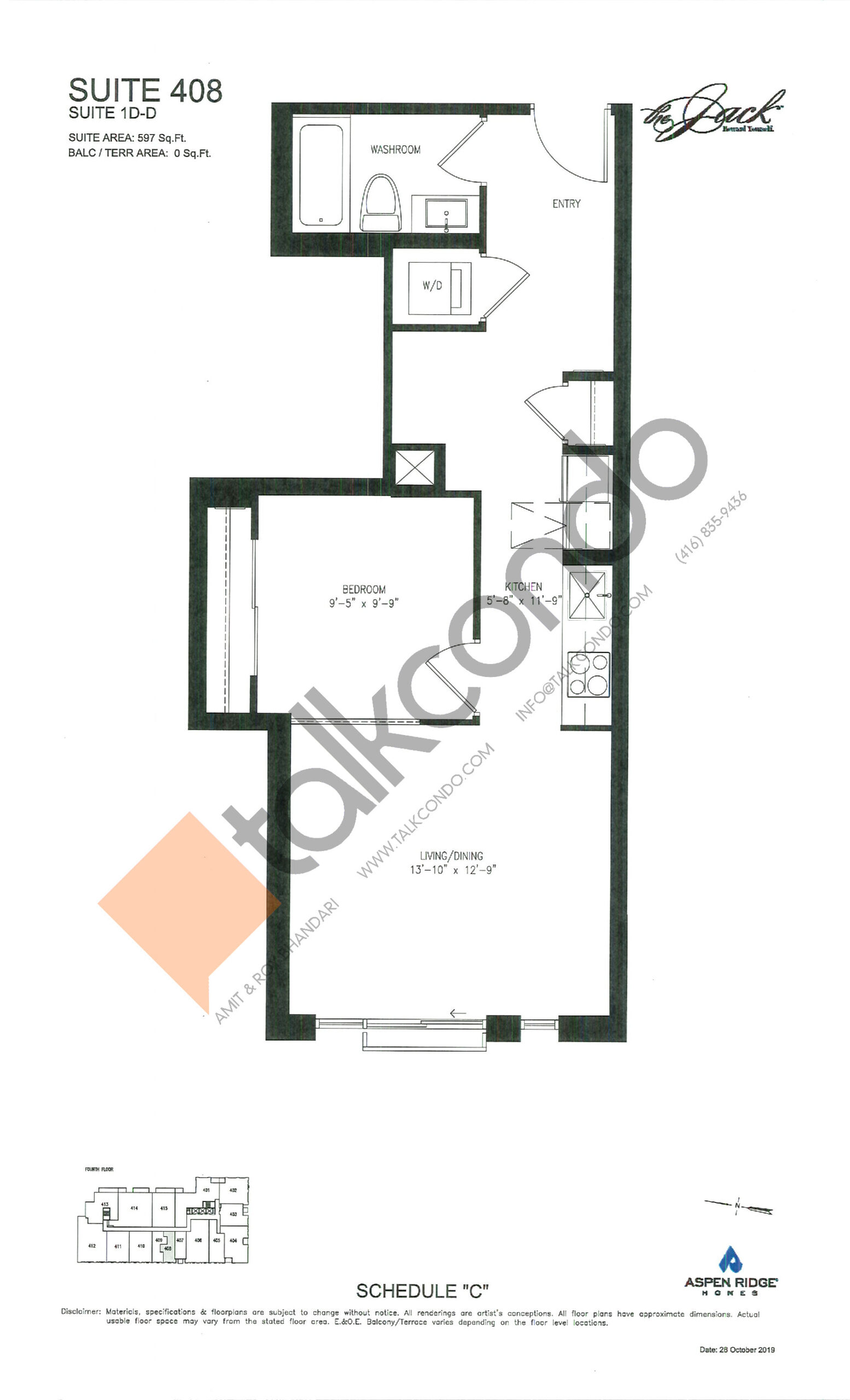 Suite 408 Floor Plan at The Jack Condos - 597 sq.ft