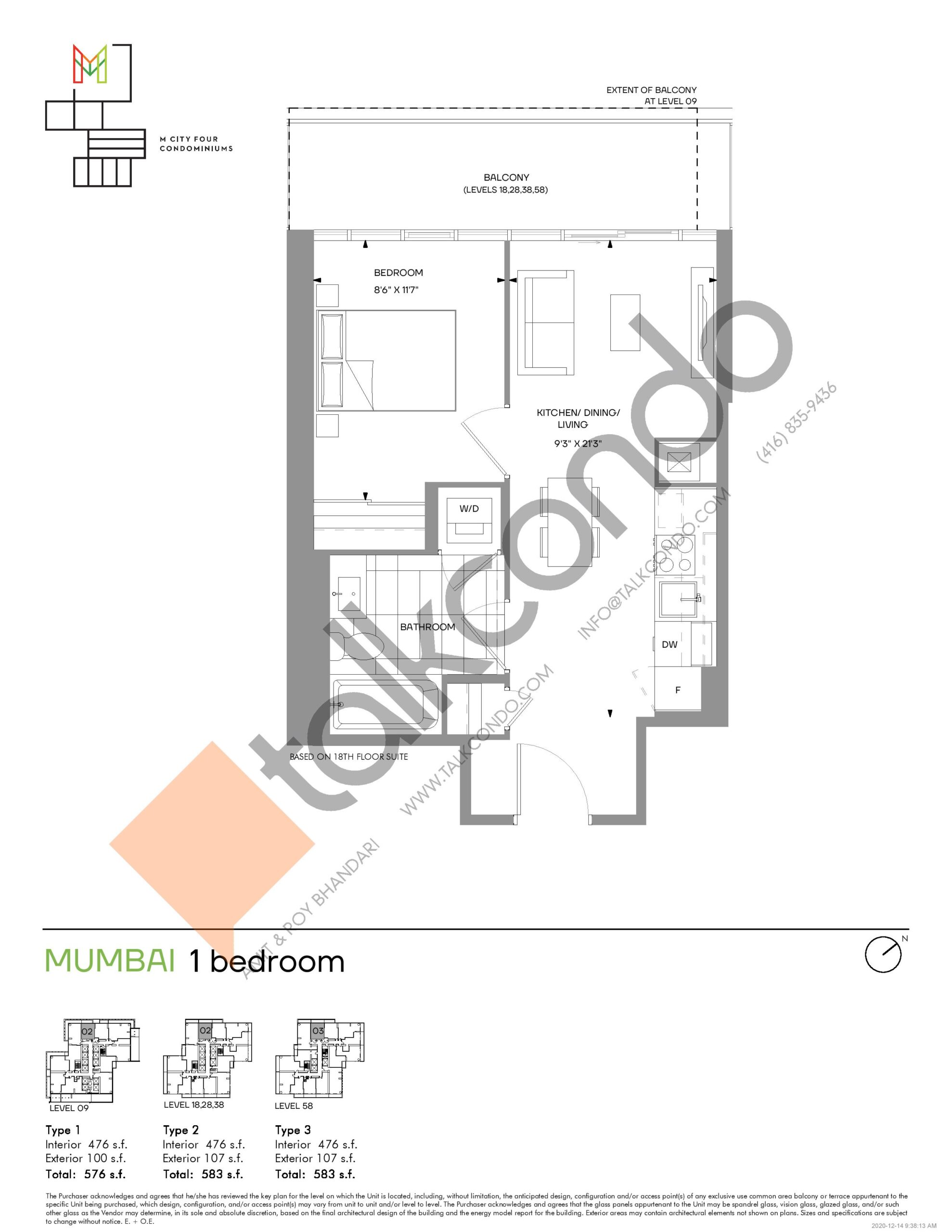 Mumbai (Tower) Floor Plan at M4 Condos - 476 sq.ft