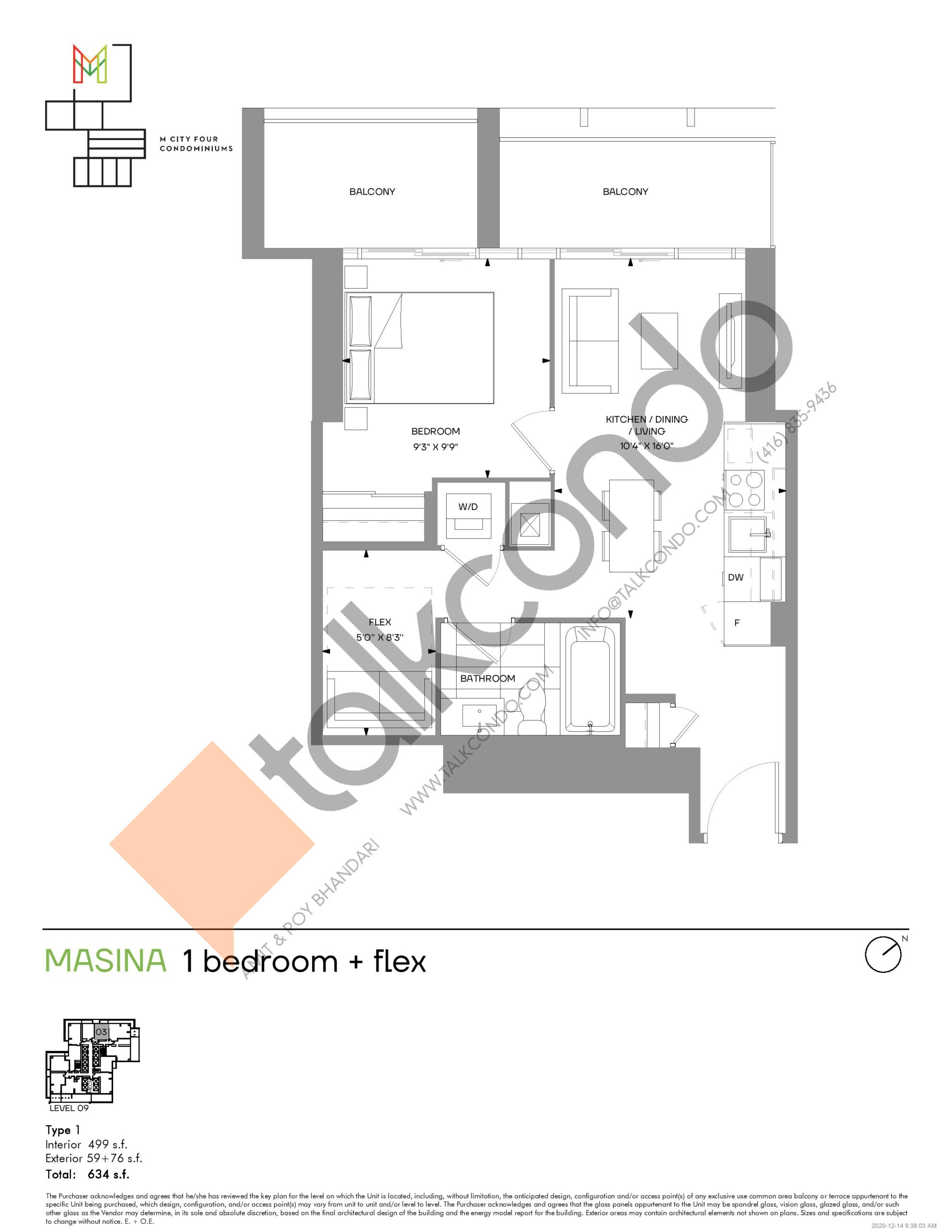 Masina (Tower) Floor Plan at M4 Condos - 499 sq.ft