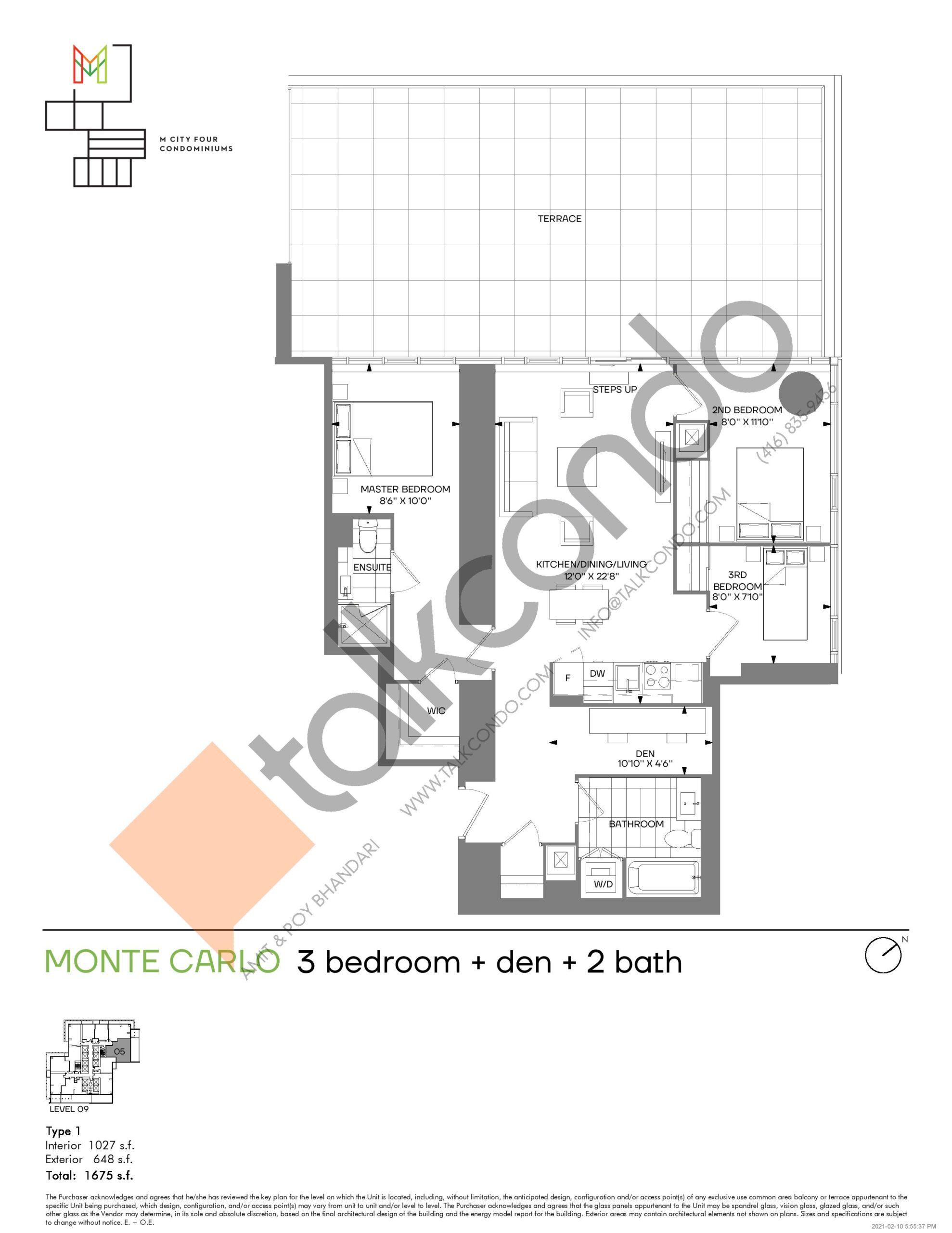 Monte Carlo (Tower) Floor Plan at M4 Condos - 1027 sq.ft