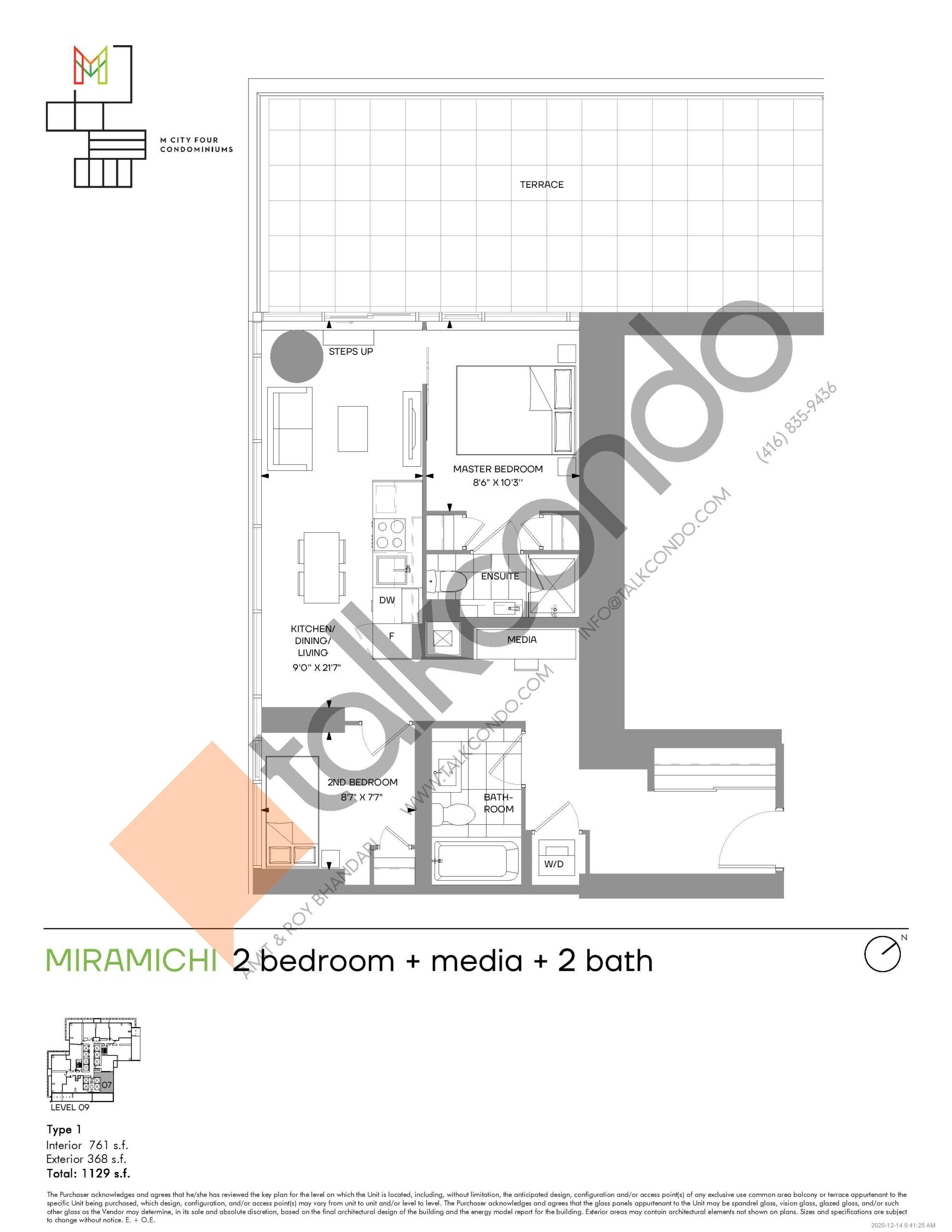 Miramichi (Tower) Floor Plan at M4 Condos - 761 sq.ft
