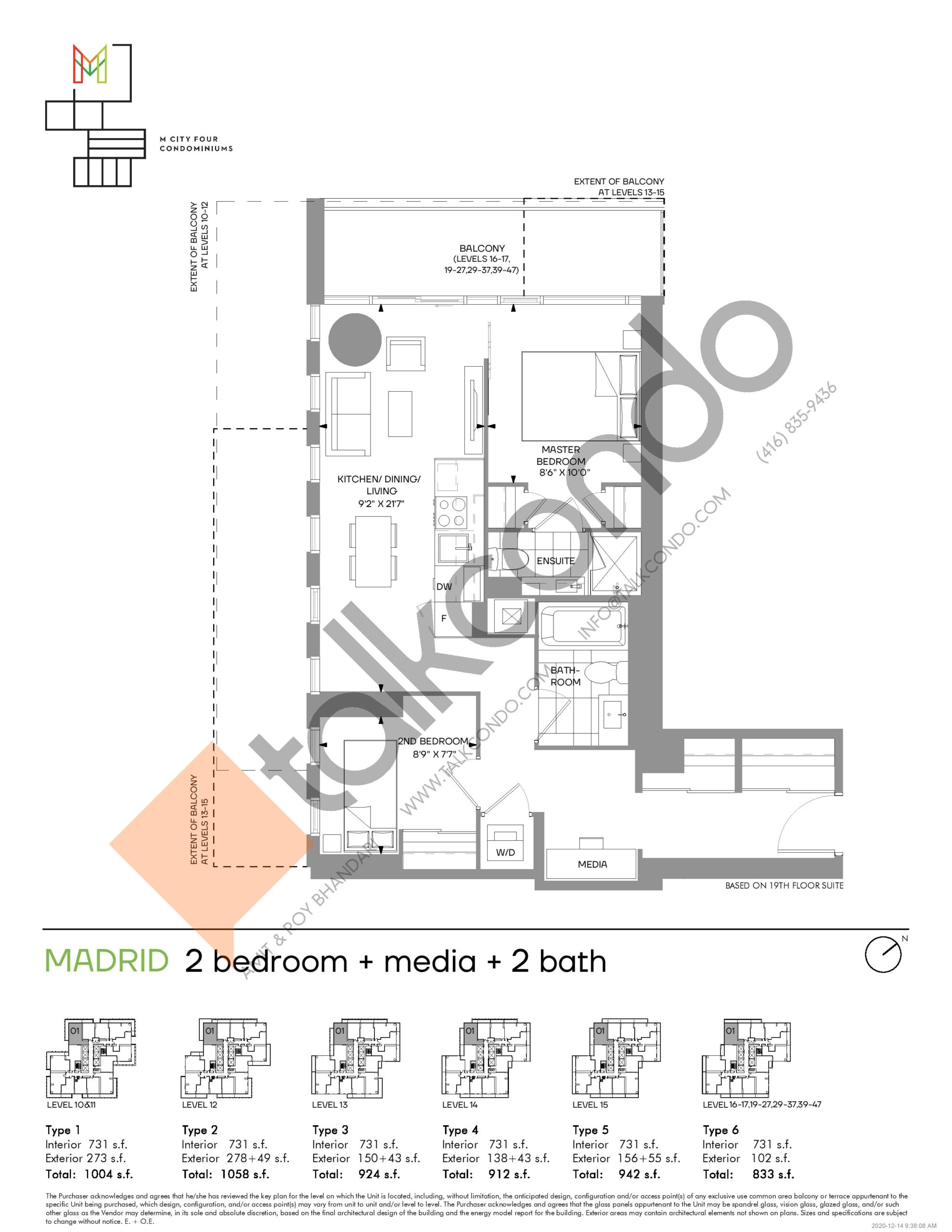 Madrid (Tower) Floor Plan at M4 Condos - 731 sq.ft