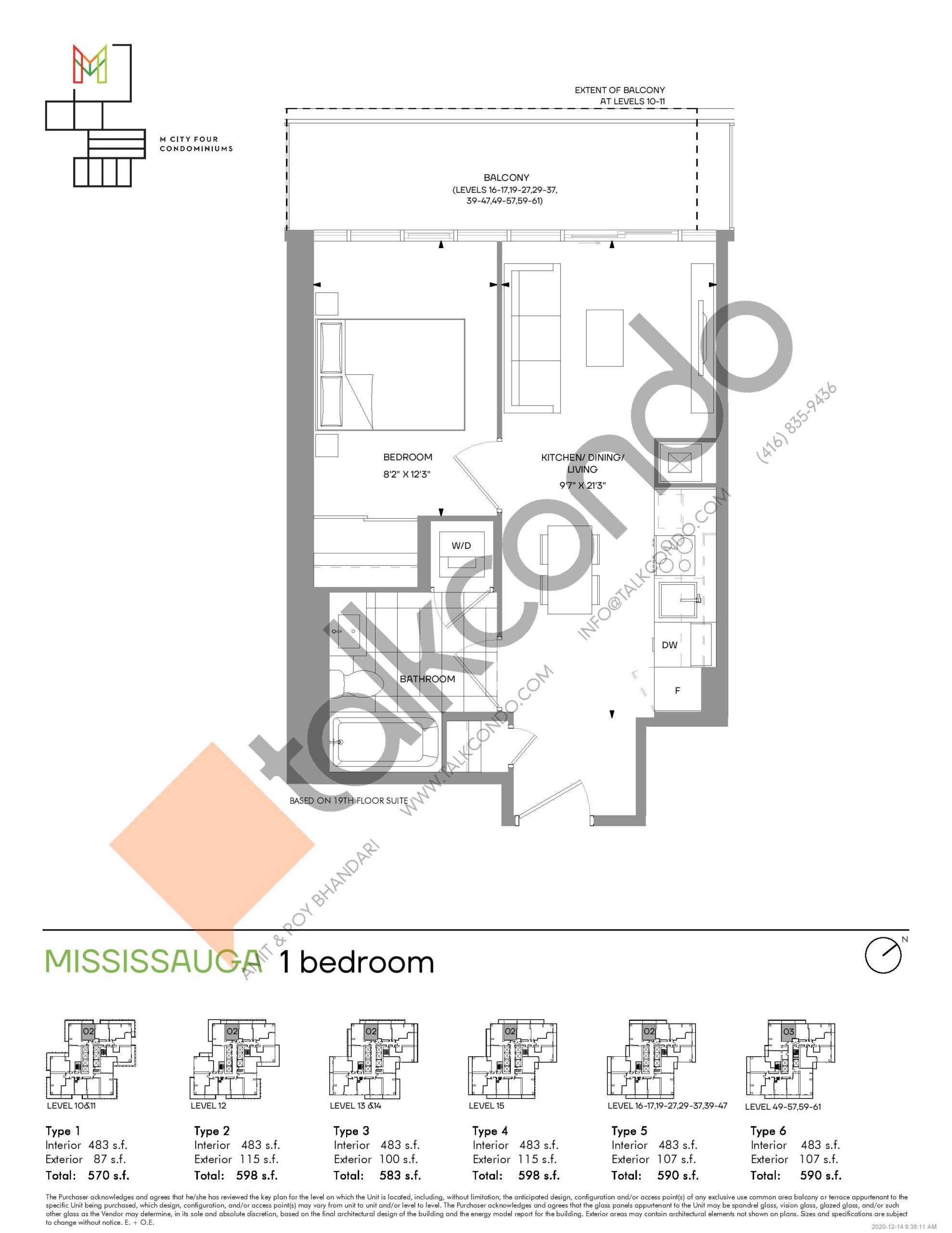 Mississauga (Tower) Floor Plan at M4 Condos - 483 sq.ft