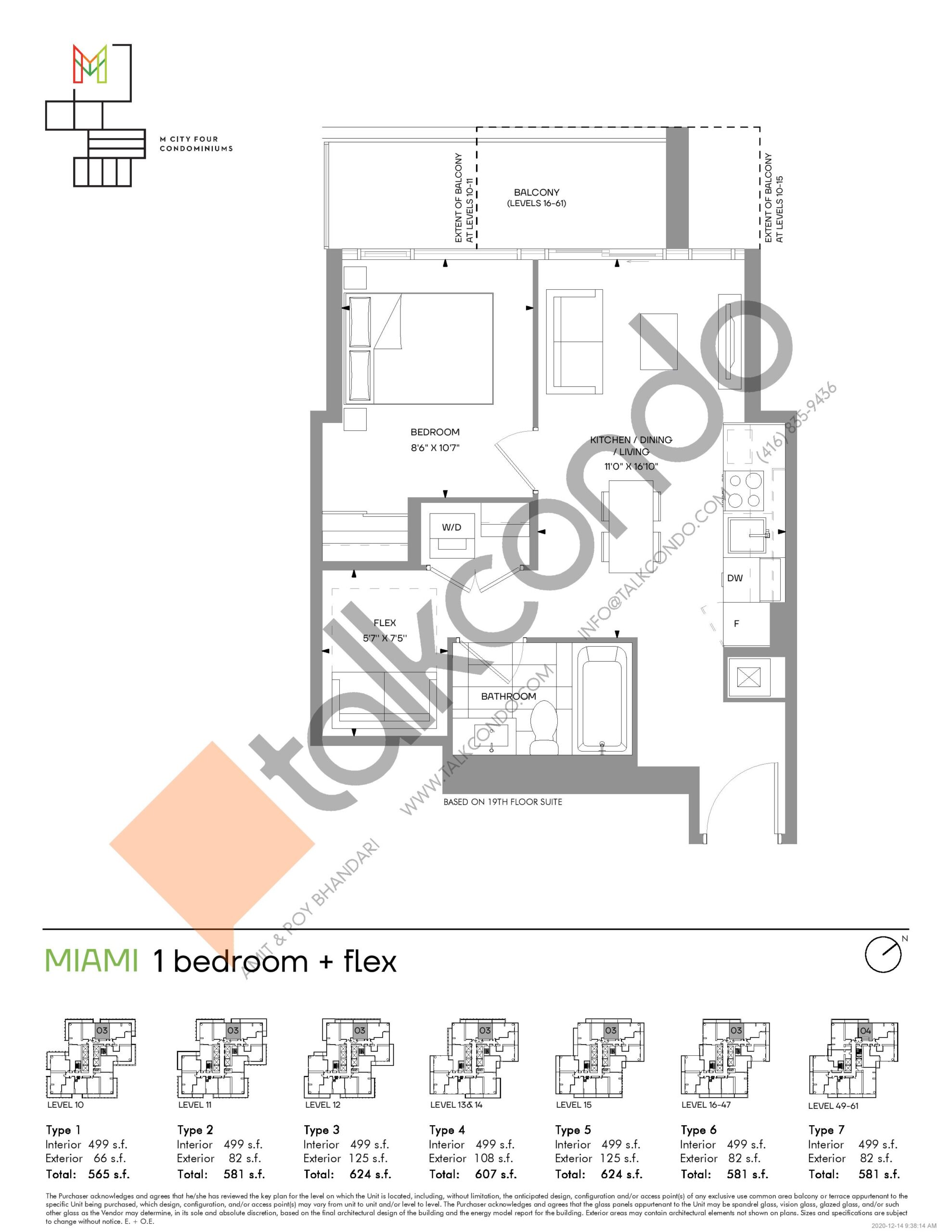 Miami (Tower) Floor Plan at M4 Condos - 499 sq.ft