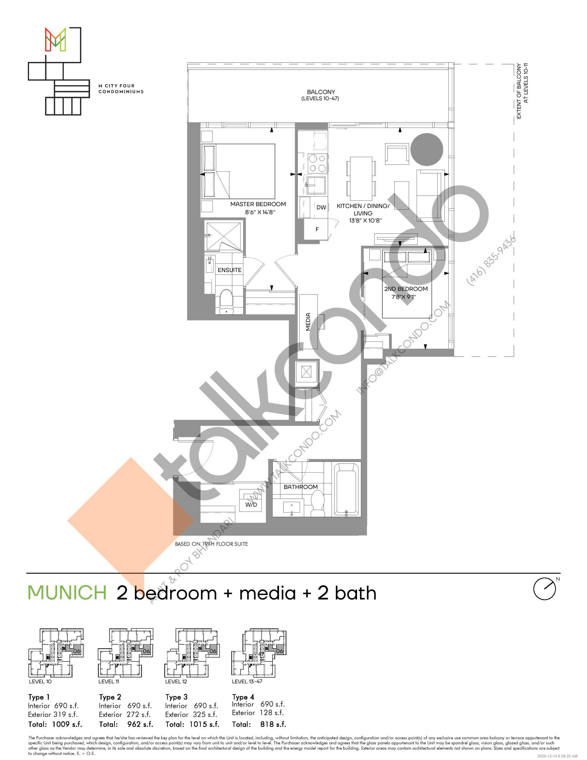 Munich (Tower) Floor Plan at M4 Condos - 690 sq.ft