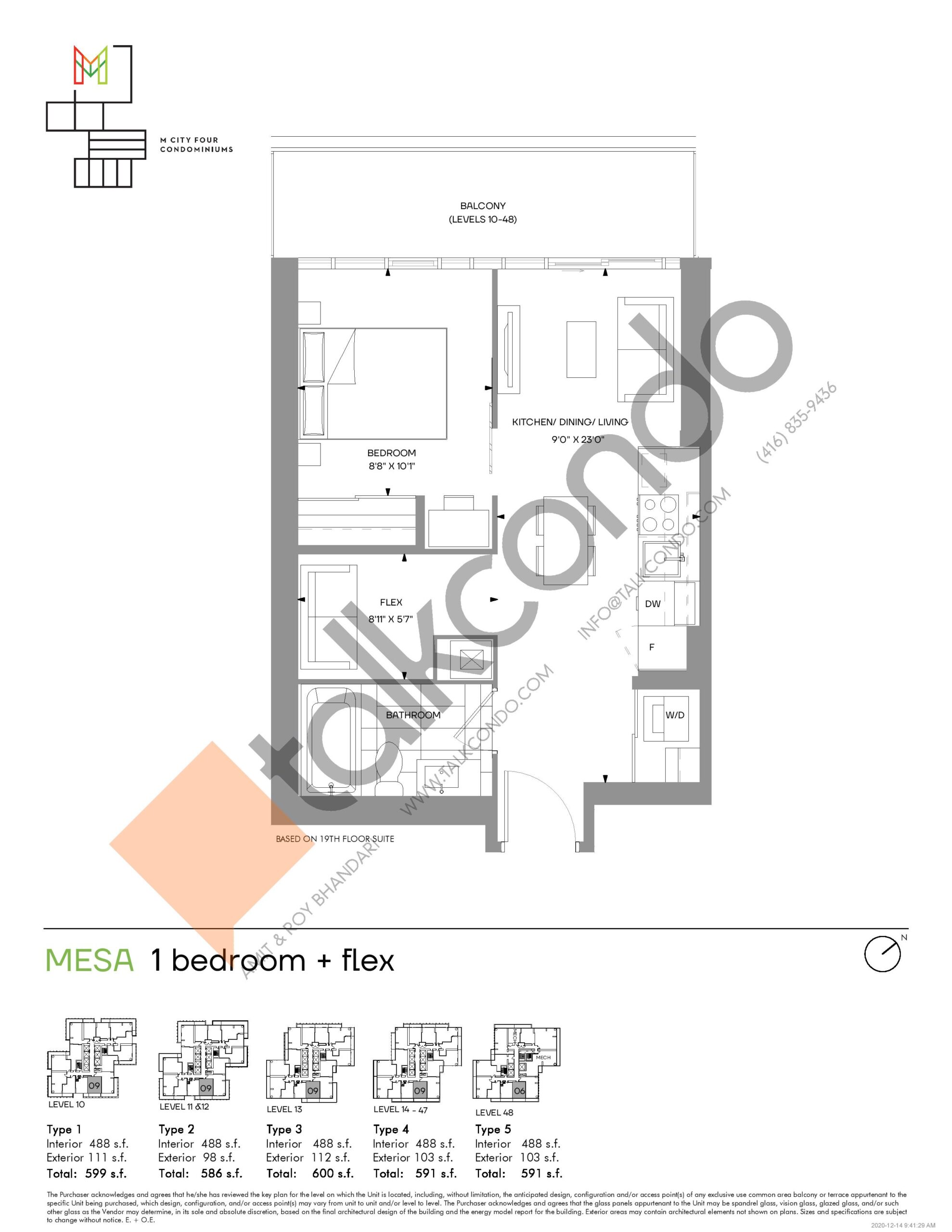 Mesa (Tower) Floor Plan at M4 Condos - 488 sq.ft