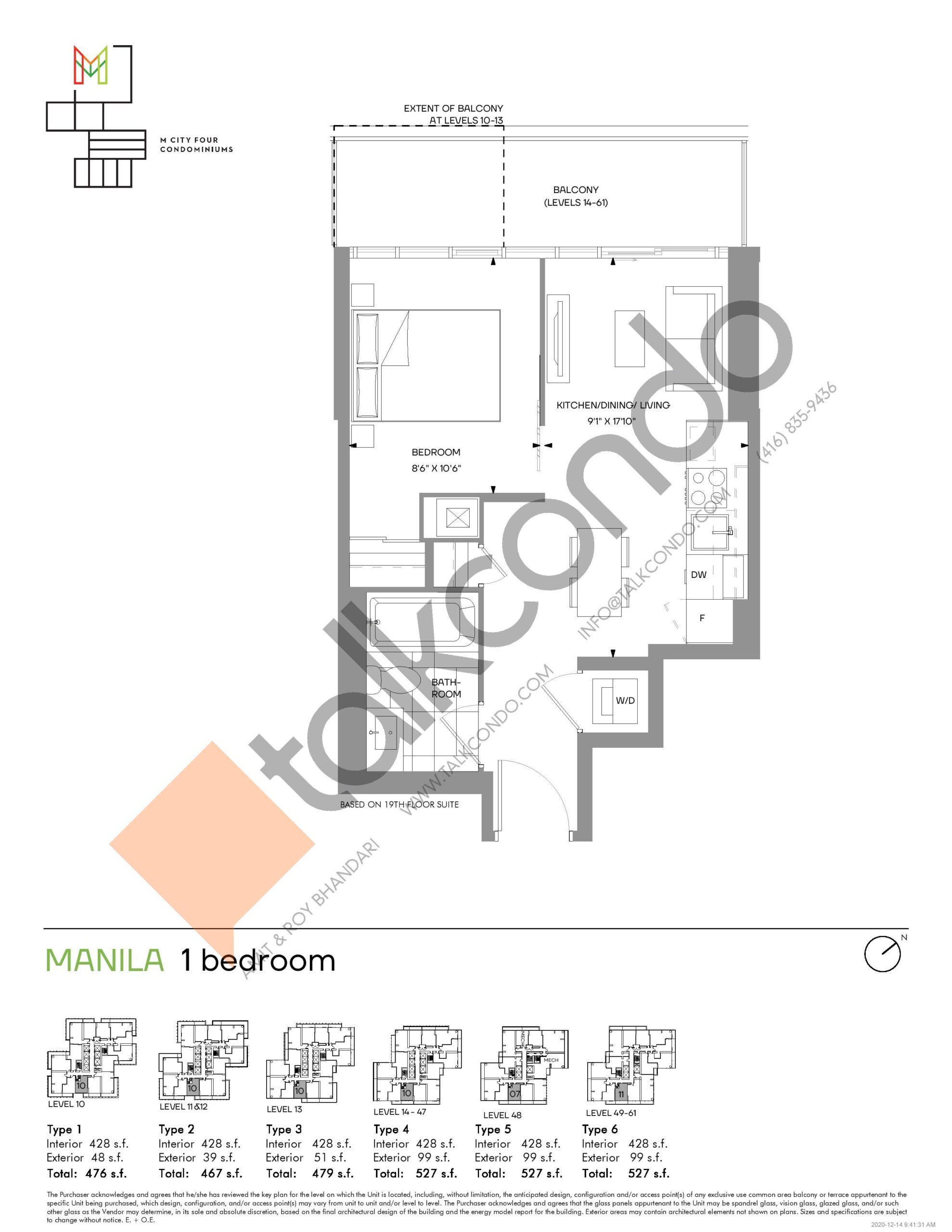 Manila (Tower) Floor Plan at M4 Condos - 428 sq.ft