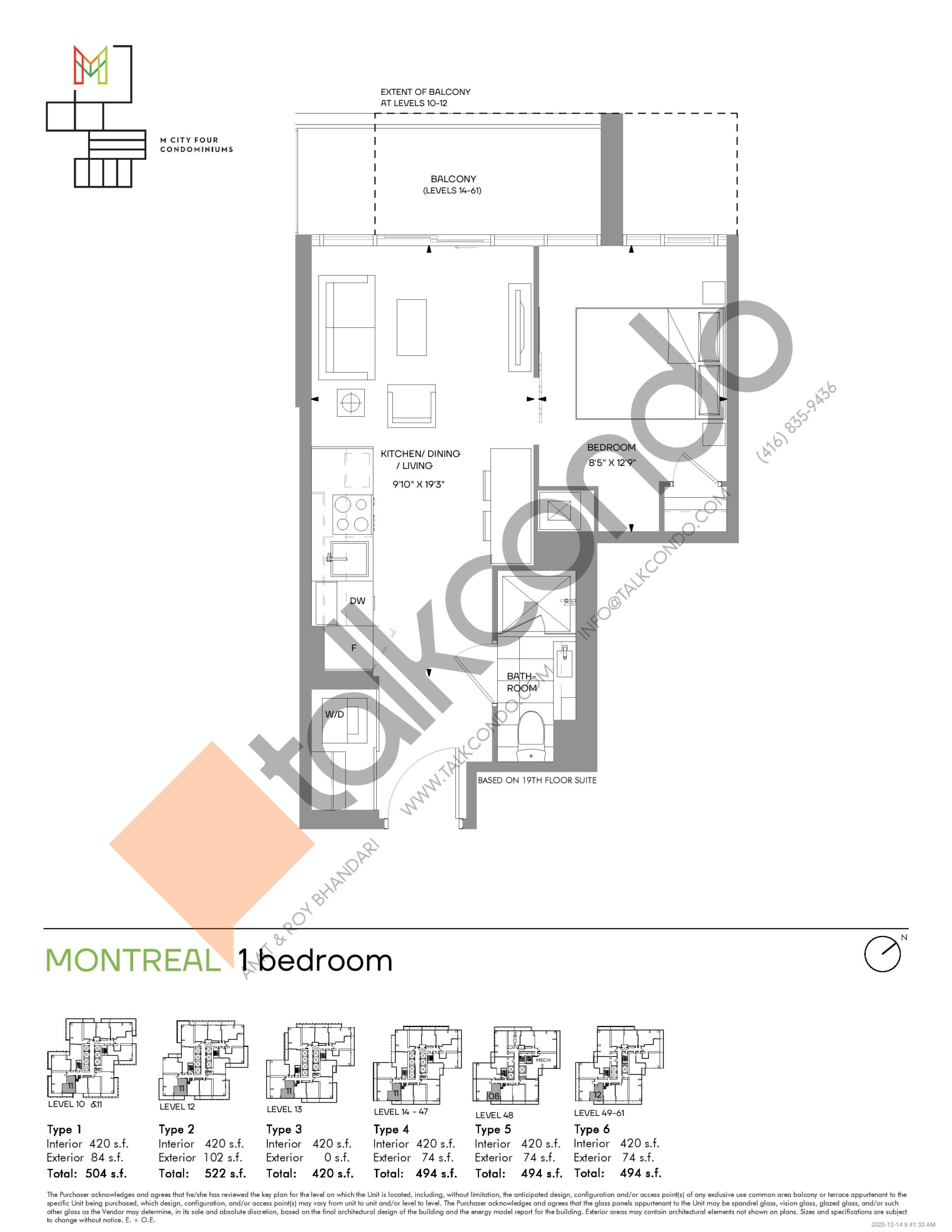 Montreal (Tower) Floor Plan at M4 Condos - 420 sq.ft