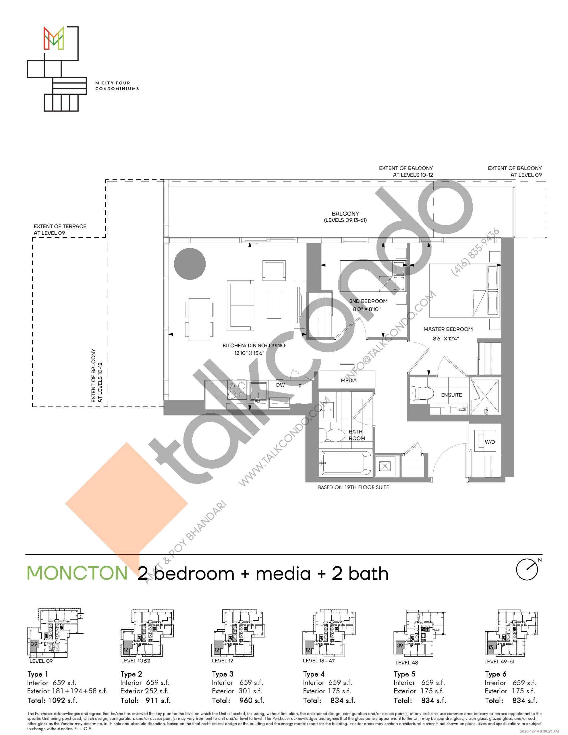 Moncton (Tower) Floor Plan at M4 Condos - 659 sq.ft