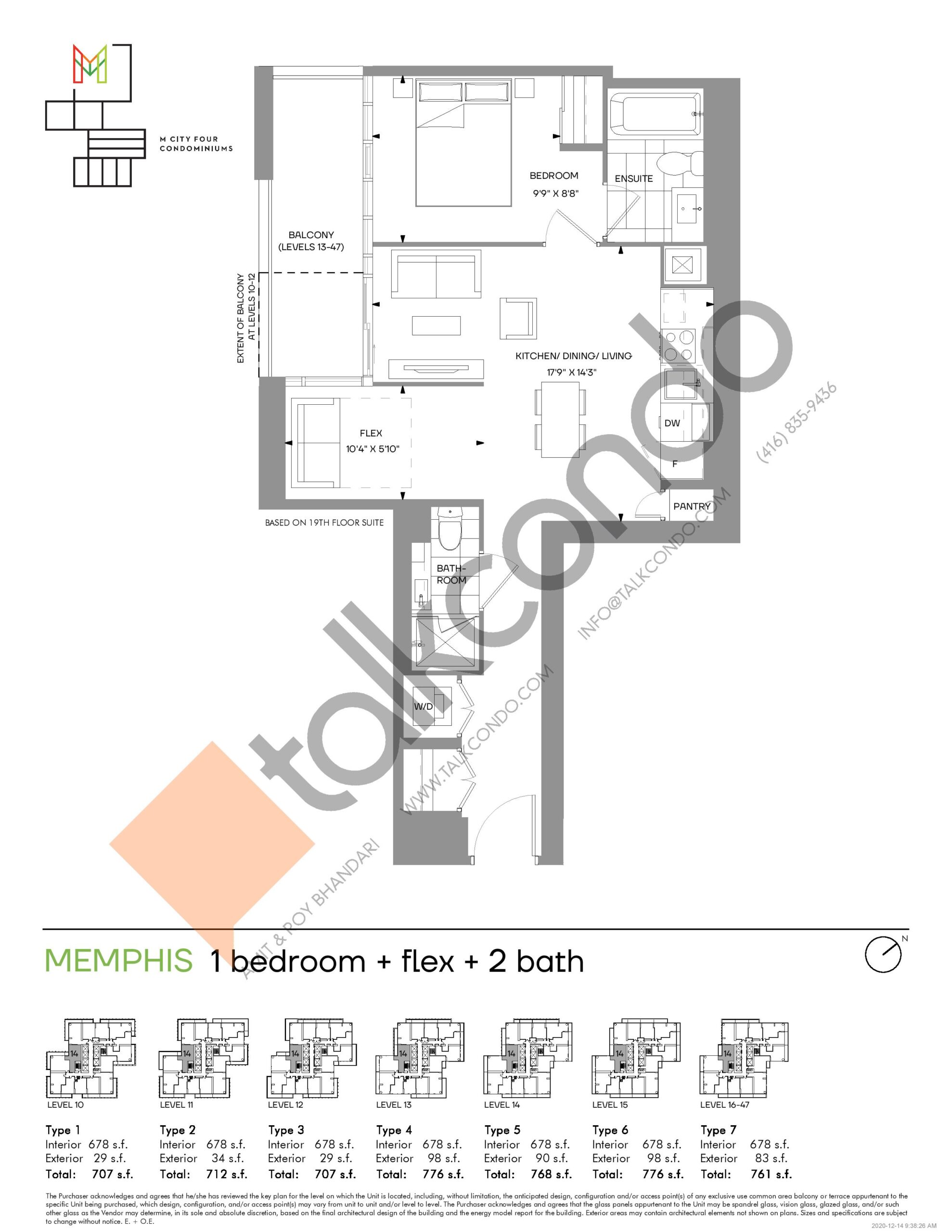 Memphis (Tower) Floor Plan at M4 Condos - 678 sq.ft