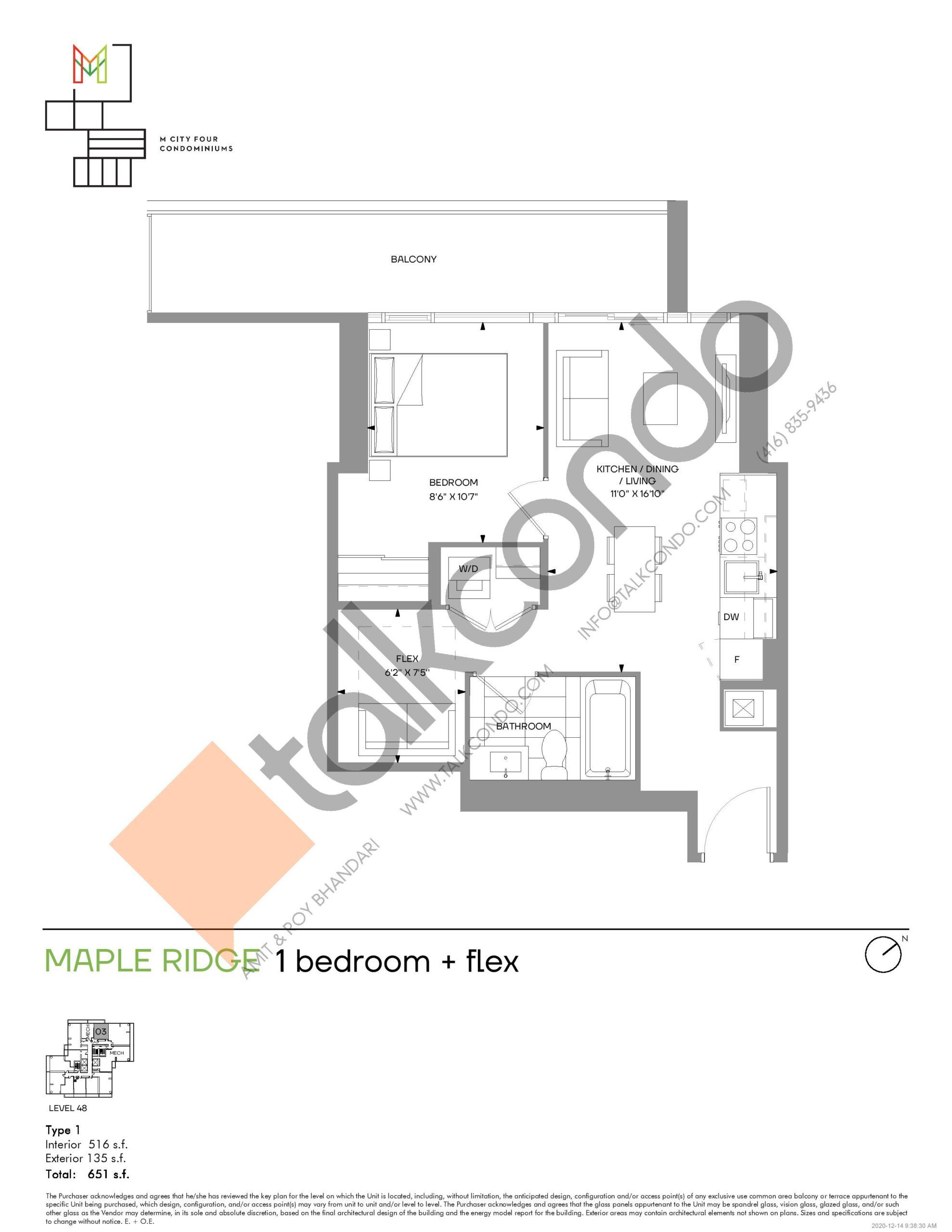 Maple Ridge (Tower) Floor Plan at M4 Condos - 516 sq.ft