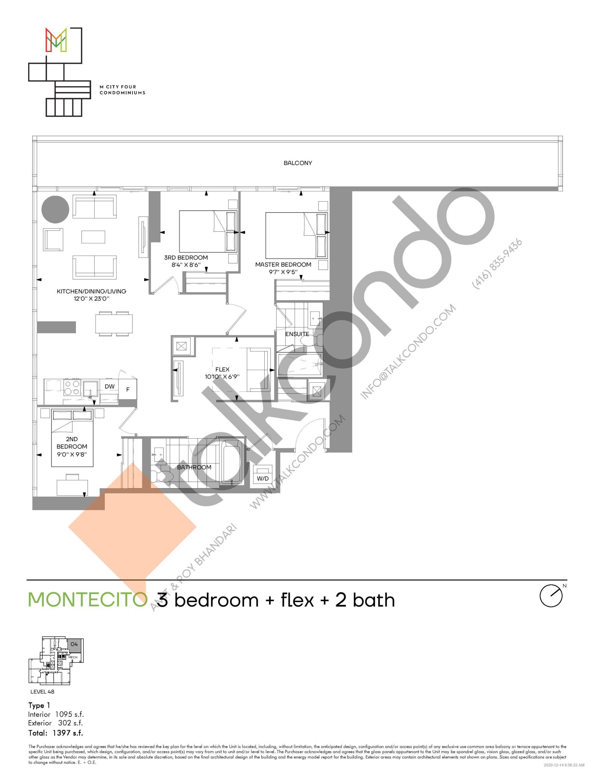 Montecito (Tower) Floor Plan at M4 Condos - 1095 sq.ft