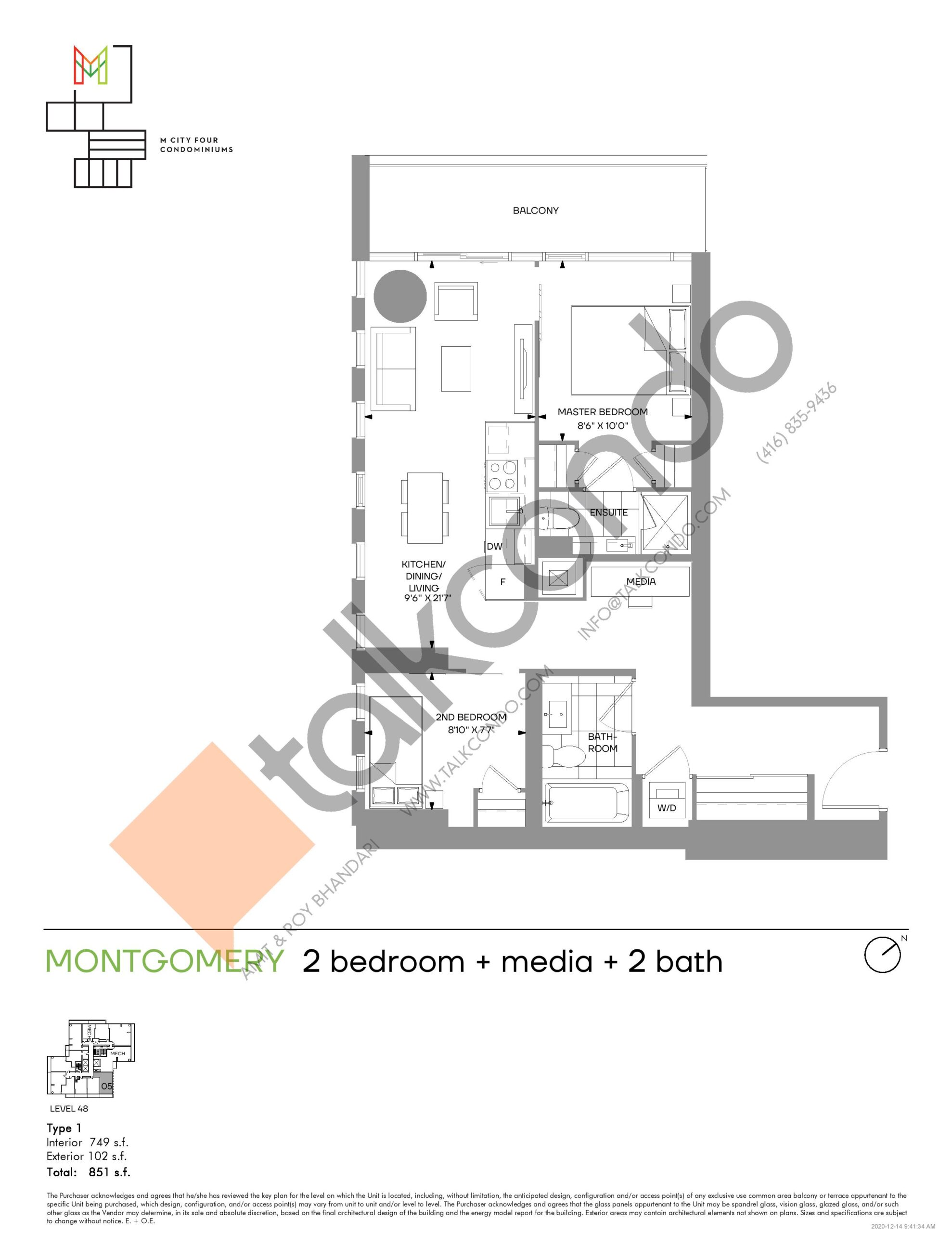 Montgomery (Tower) Floor Plan at M4 Condos - 749 sq.ft