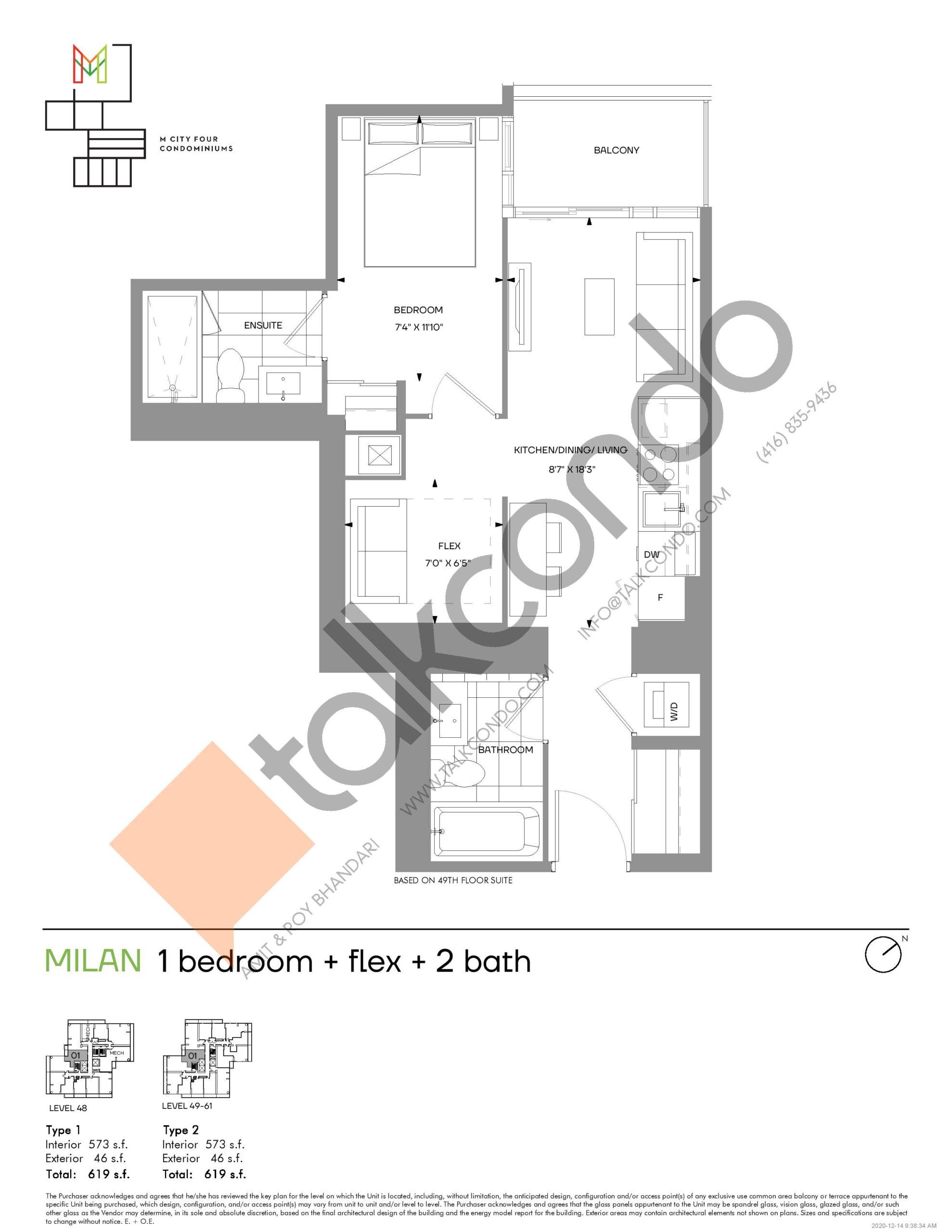 Milan (Tower) Floor Plan at M4 Condos - 573 sq.ft