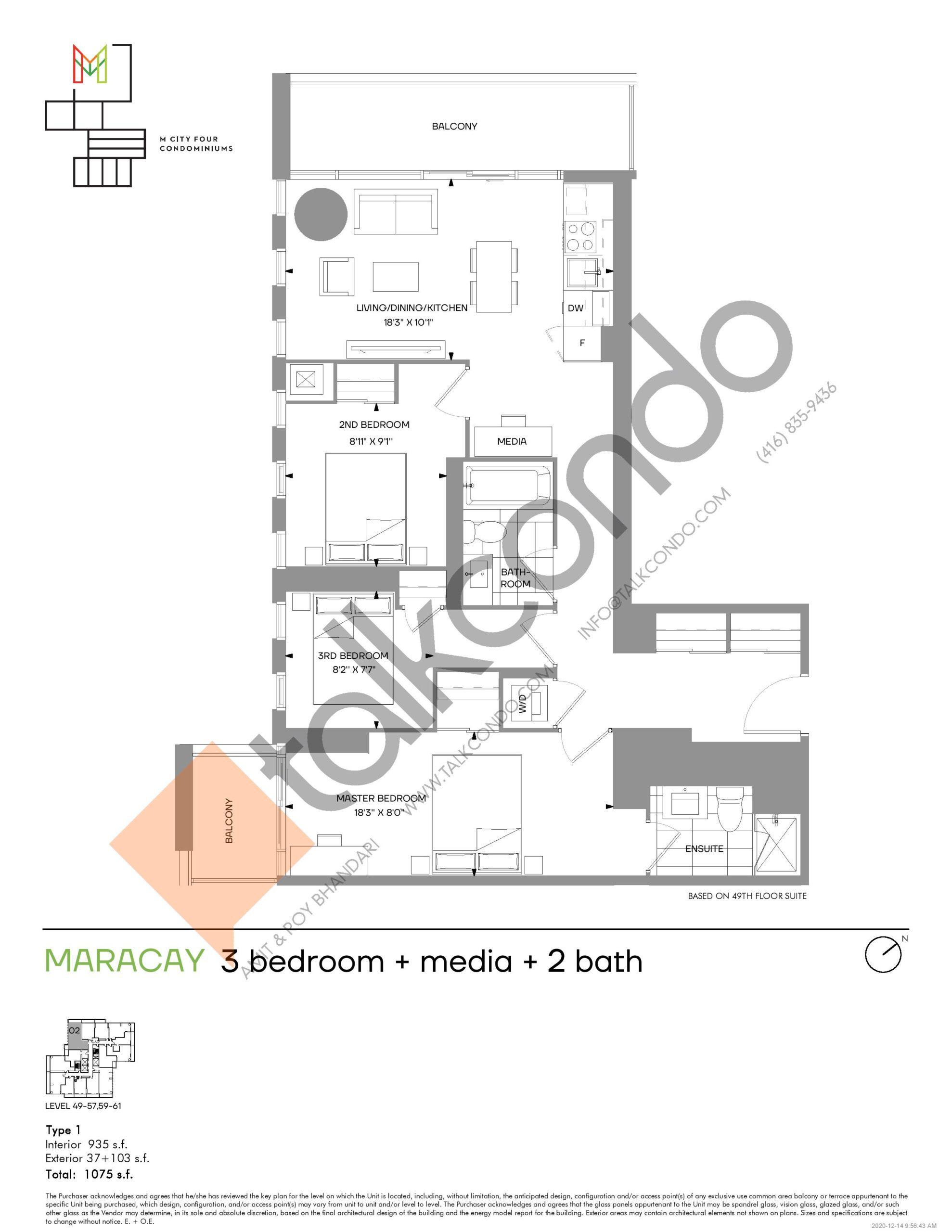 Maracay (Tower) Floor Plan at M4 Condos - 935 sq.ft