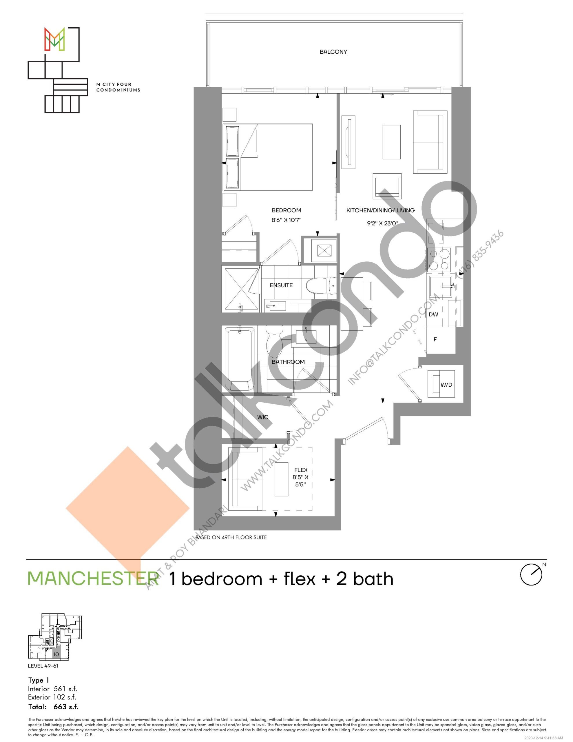 Manchester (Tower) Floor Plan at M4 Condos - 561 sq.ft