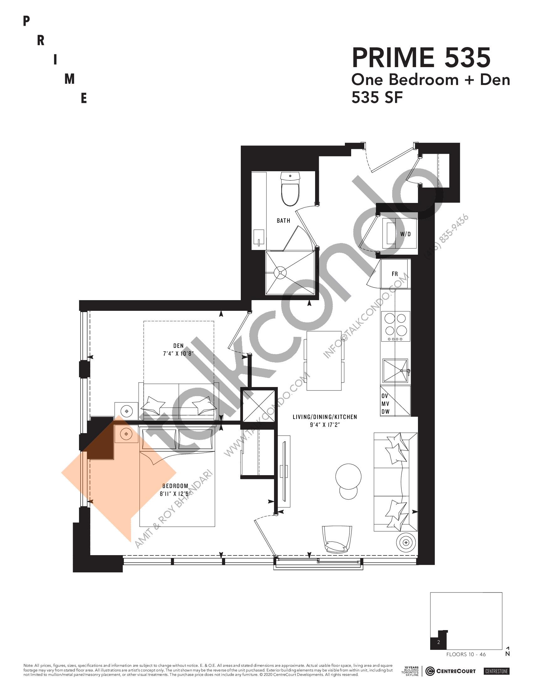 PRIME 535 Floor Plan at Prime Condos - 535 sq.ft