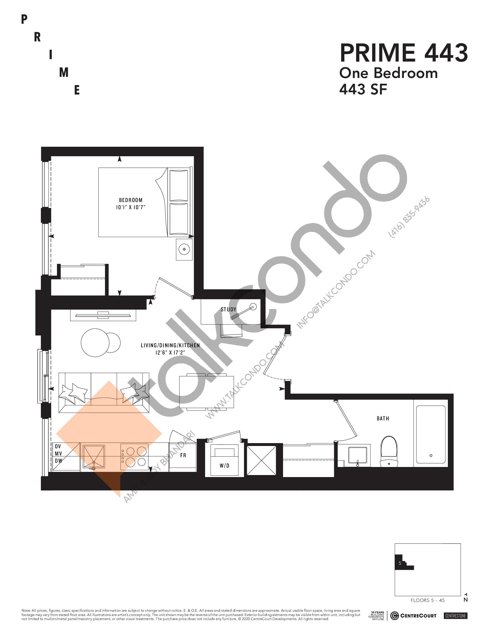 PRIME 443 Floor Plan at Prime Condos - 443 sq.ft
